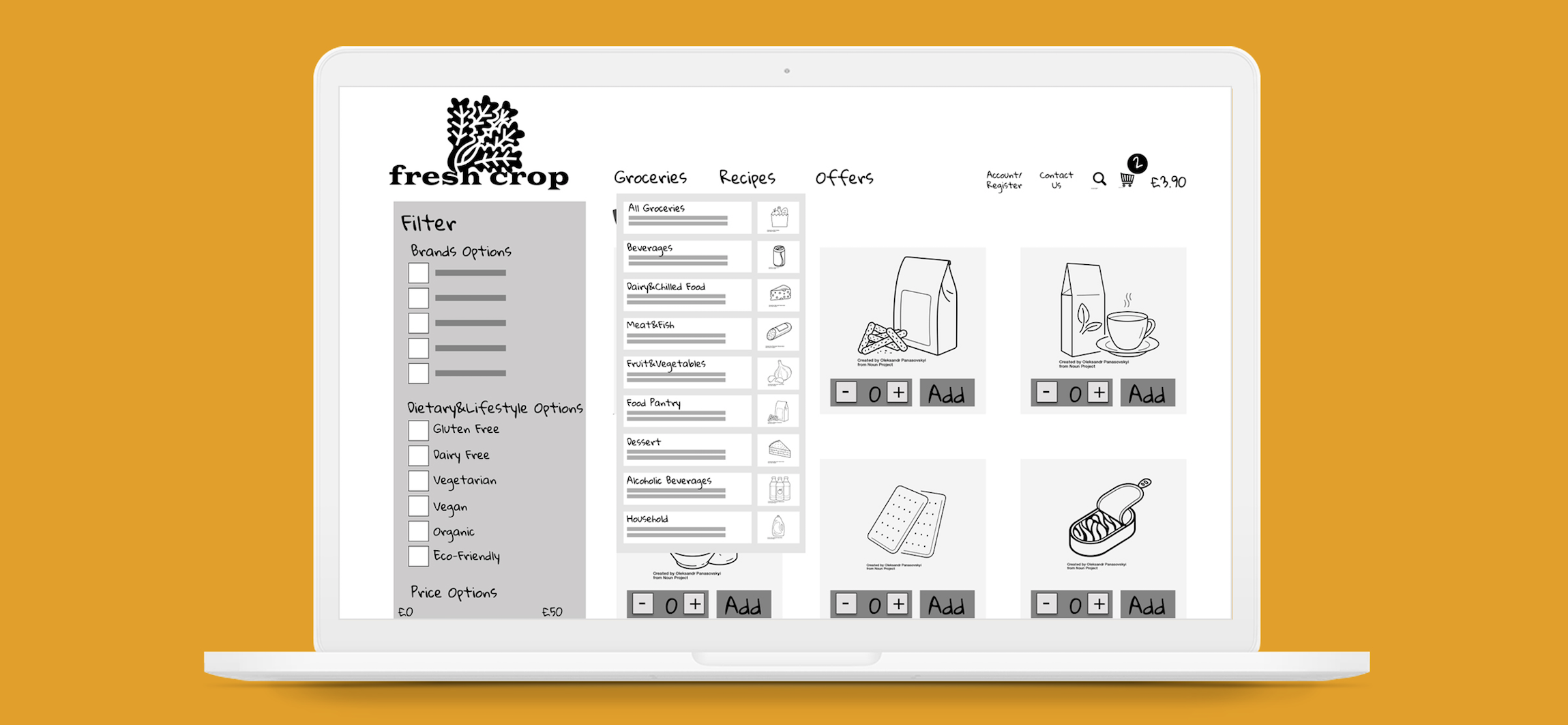 The Hero Image showing a mock-up laptop with the product page of the mid fidelity website.
