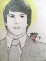 Brett Kavanaugh yearbook picture with halo and tiny devil on shoulder drinking beer