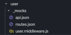 A user folder with a subfolder called _mocks and 3 files: api.json, routes.json and user.middleware.js