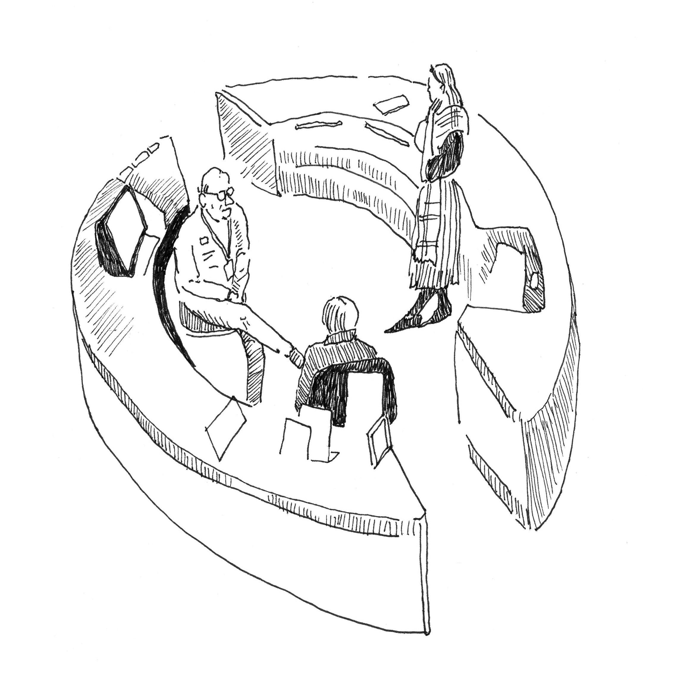 A drawing of museum staff at the visitor desk, as drawn from above