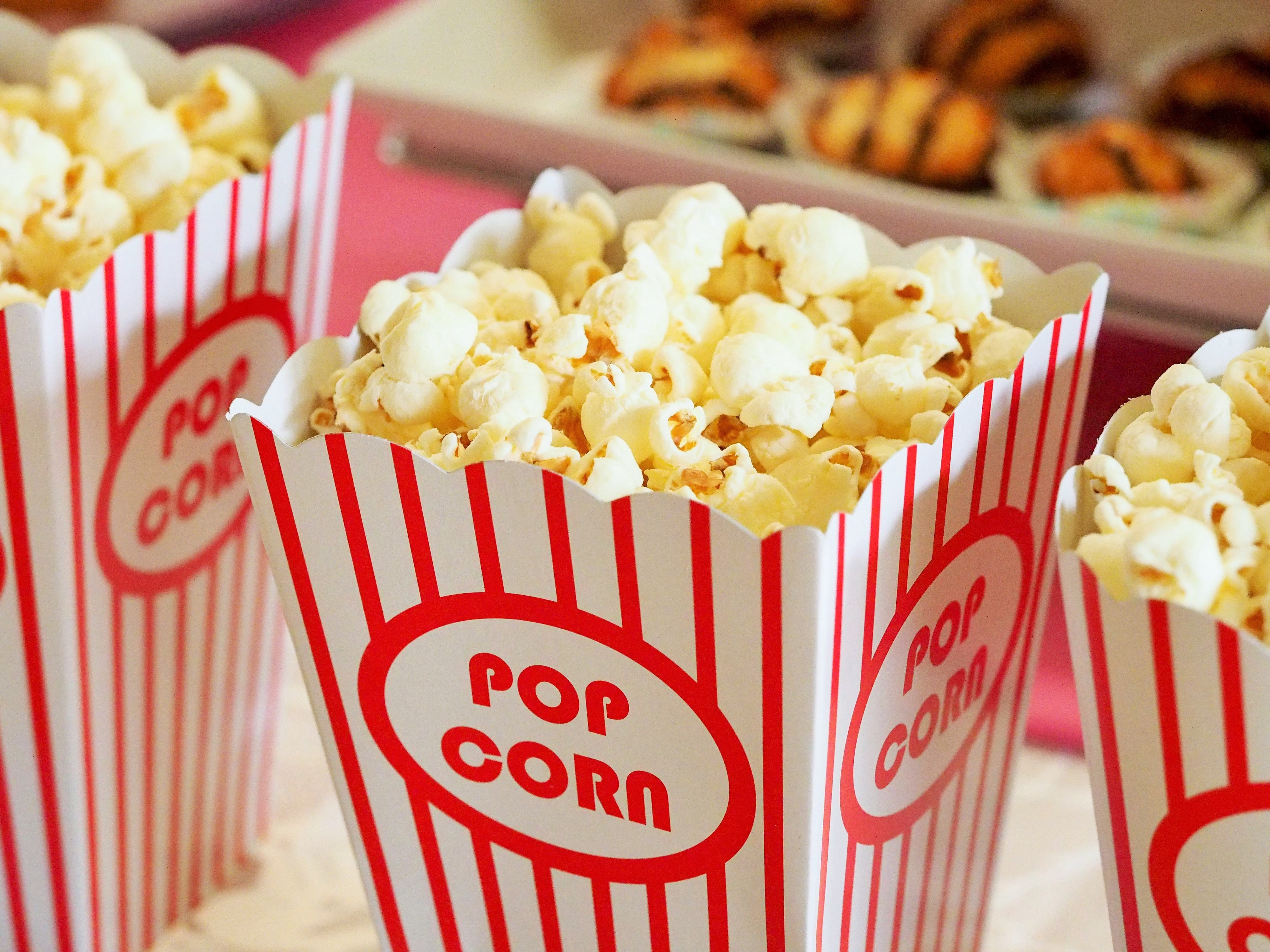 Popcorn in a classic red and white carton.
