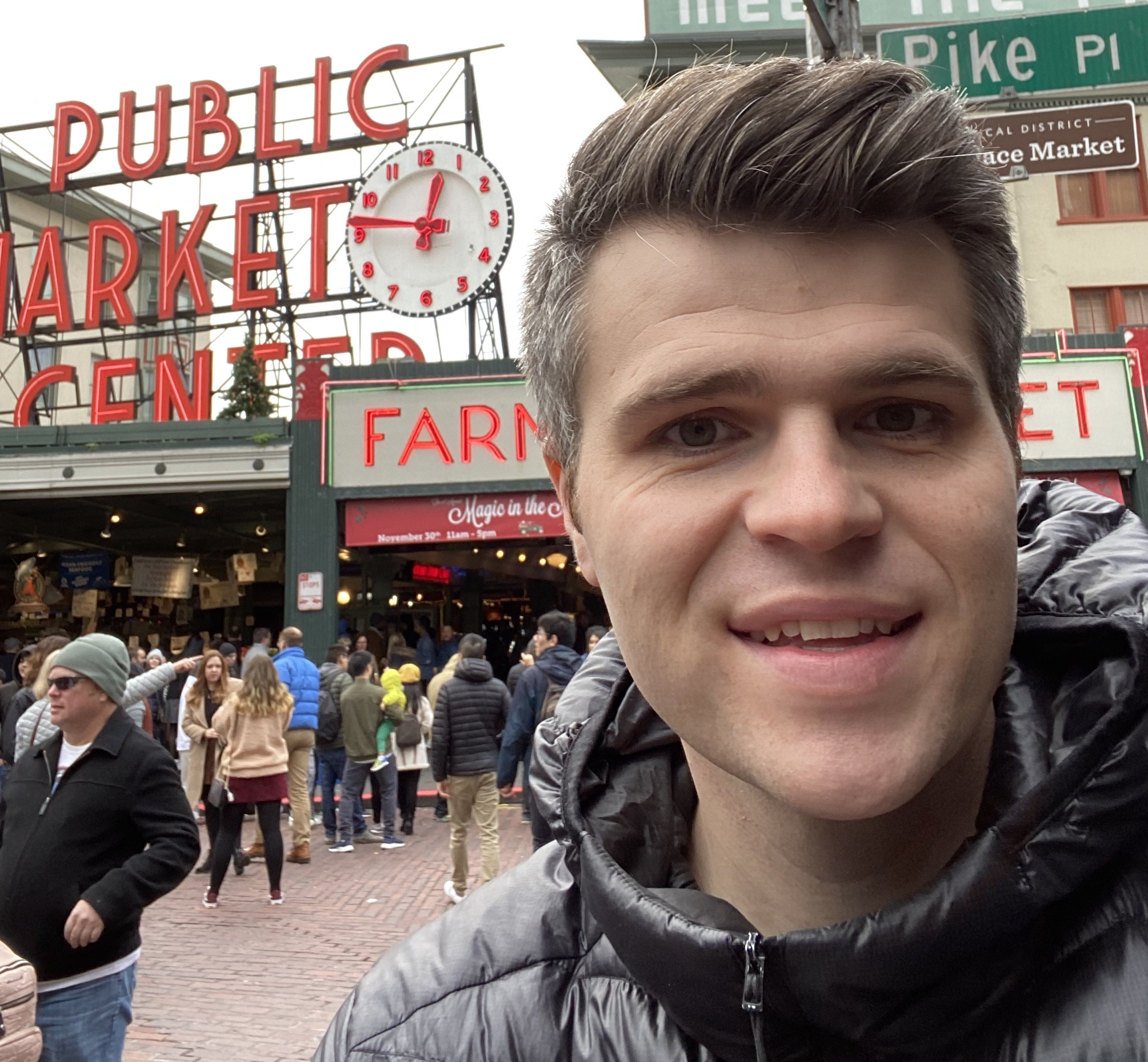 Jamund outside of pike place market in Seattle in November 2019