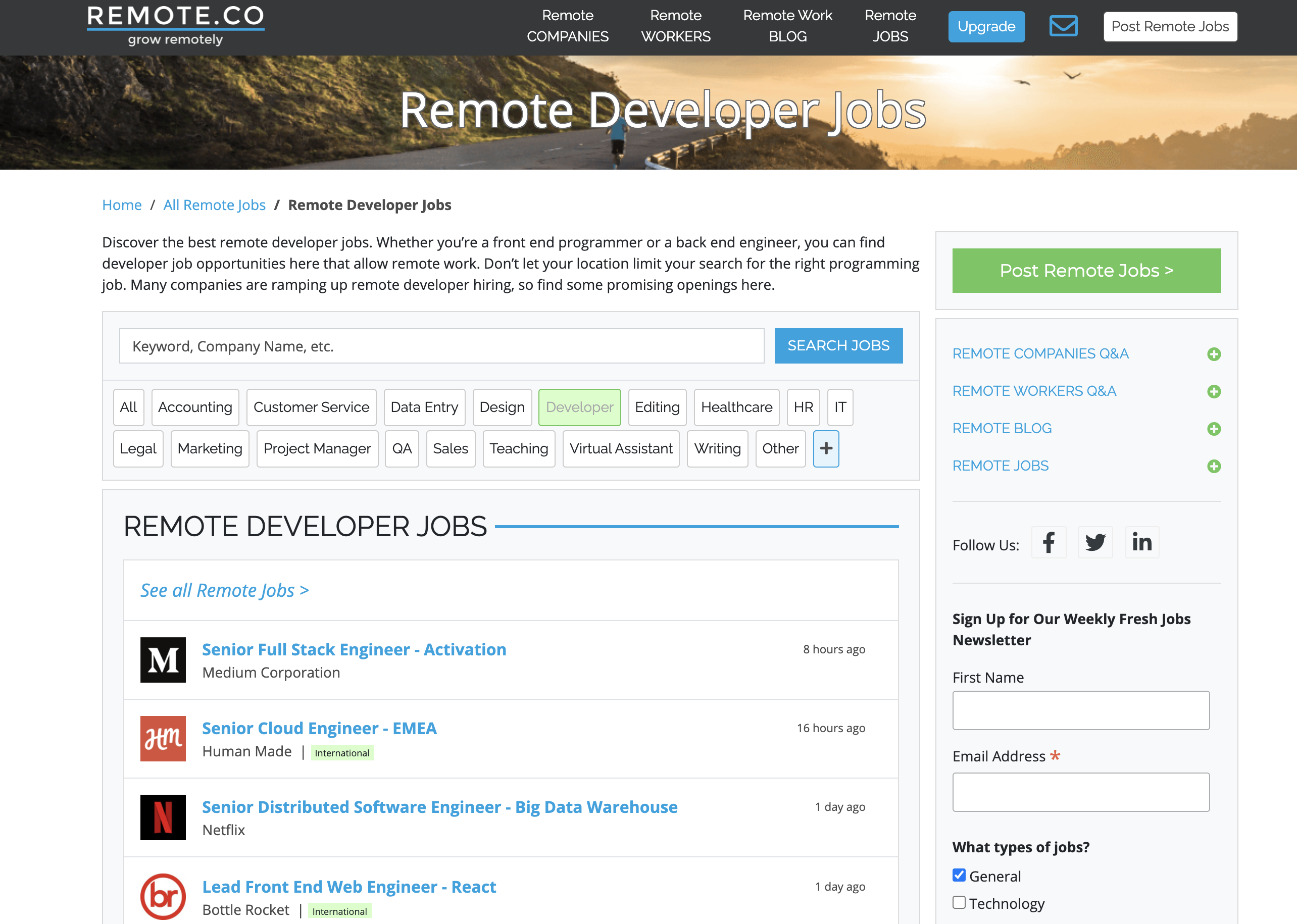 Remote.co homepage