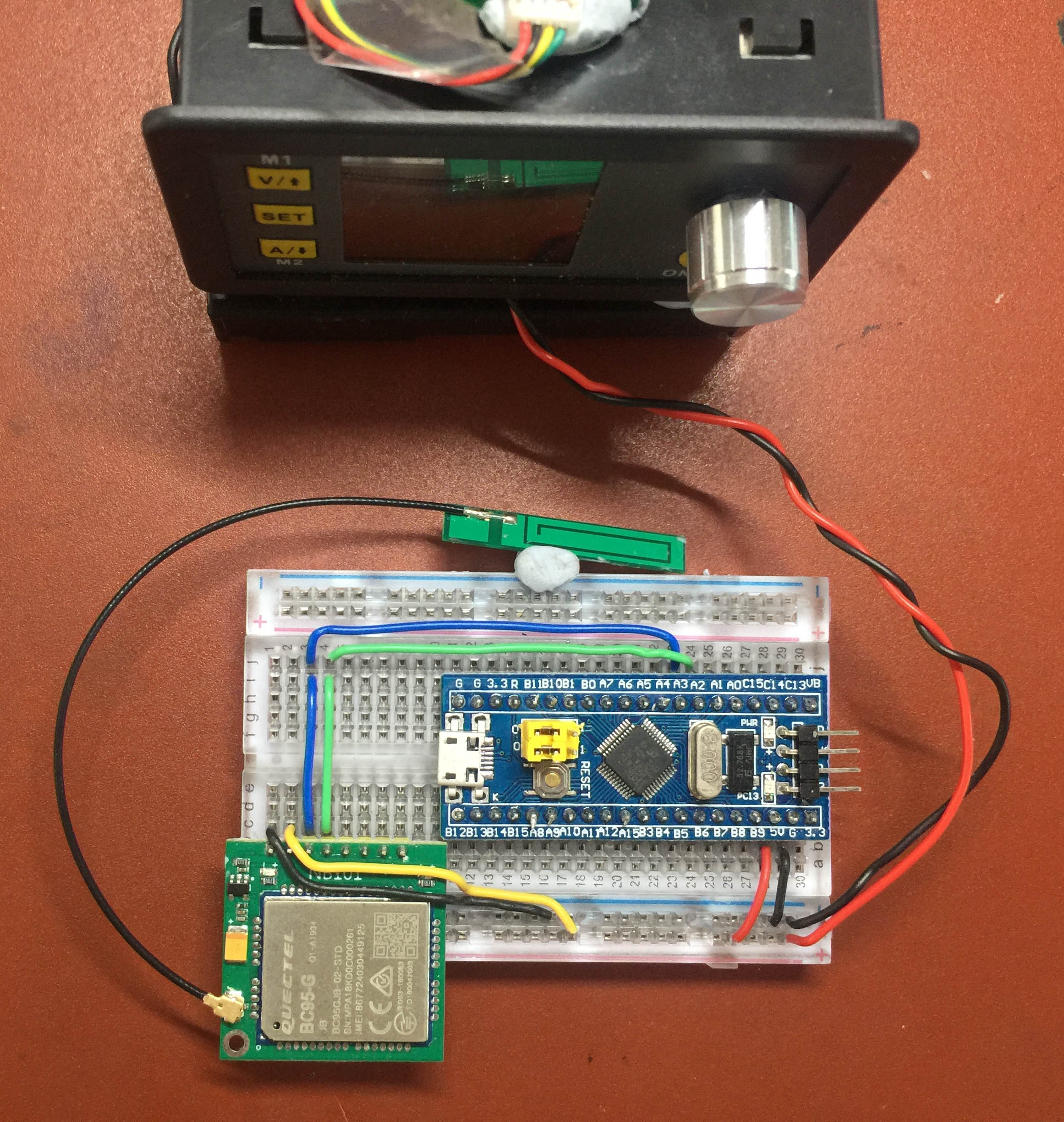 Blue Pill and NB-IoT Module connected to RuiDeng DPS 3005 Power Monitor