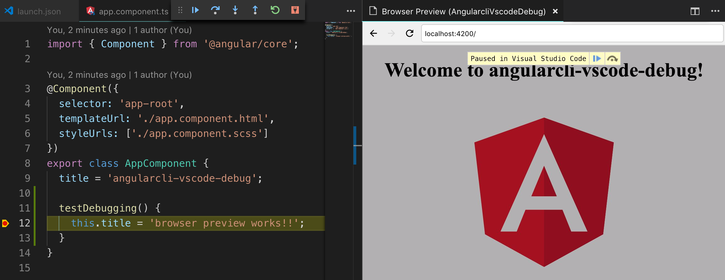 Debugging Angular CLI Apps inside VSCode with Browser Preview