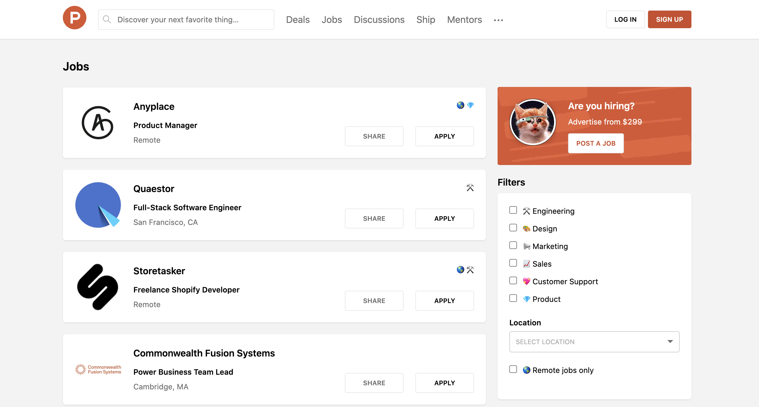 ProductHunt homepage