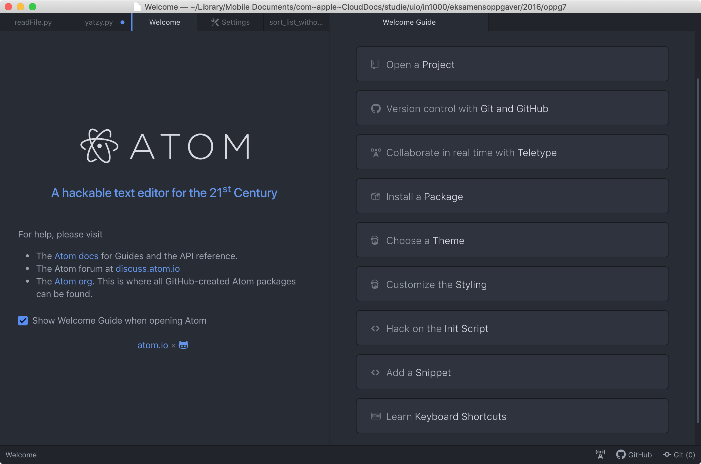 screen shot of the atom welcome interface