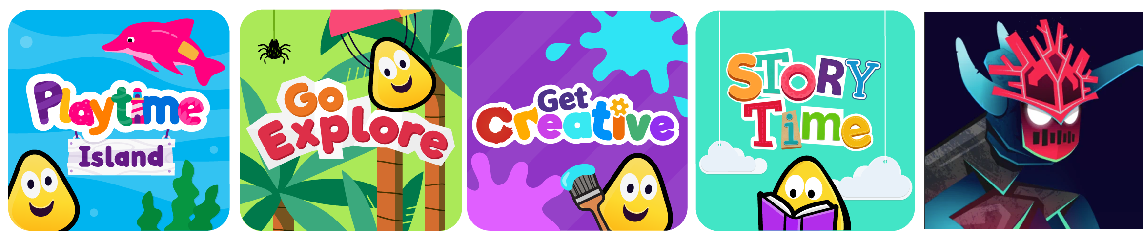A row of app icons showing Playtime Island, Go Explore, Get Creative, Storytime and Nightfall.