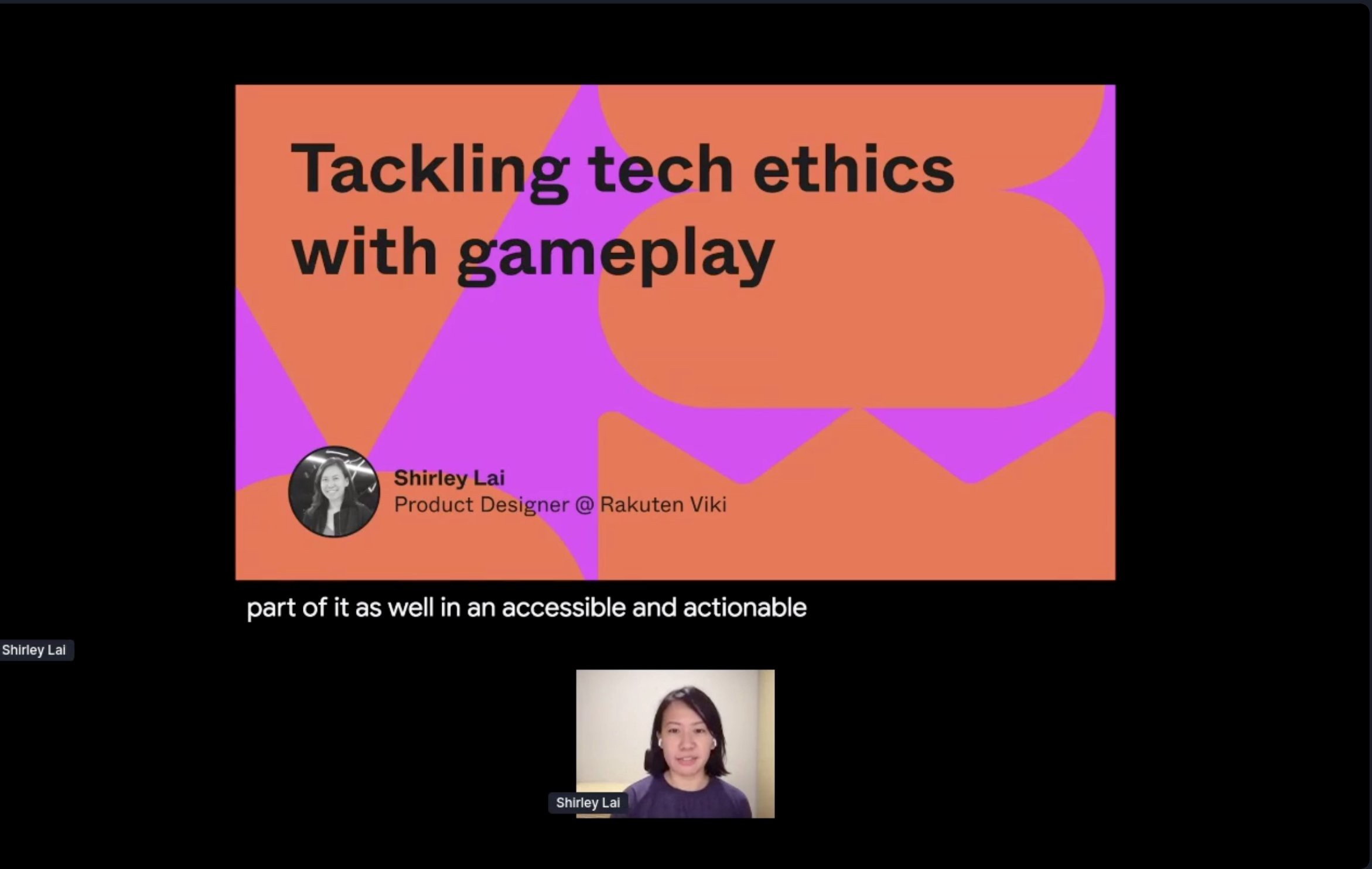 Screenshot of conference with title (Tackling tech ethics with gameplay) at the top and speaker image at the bottom