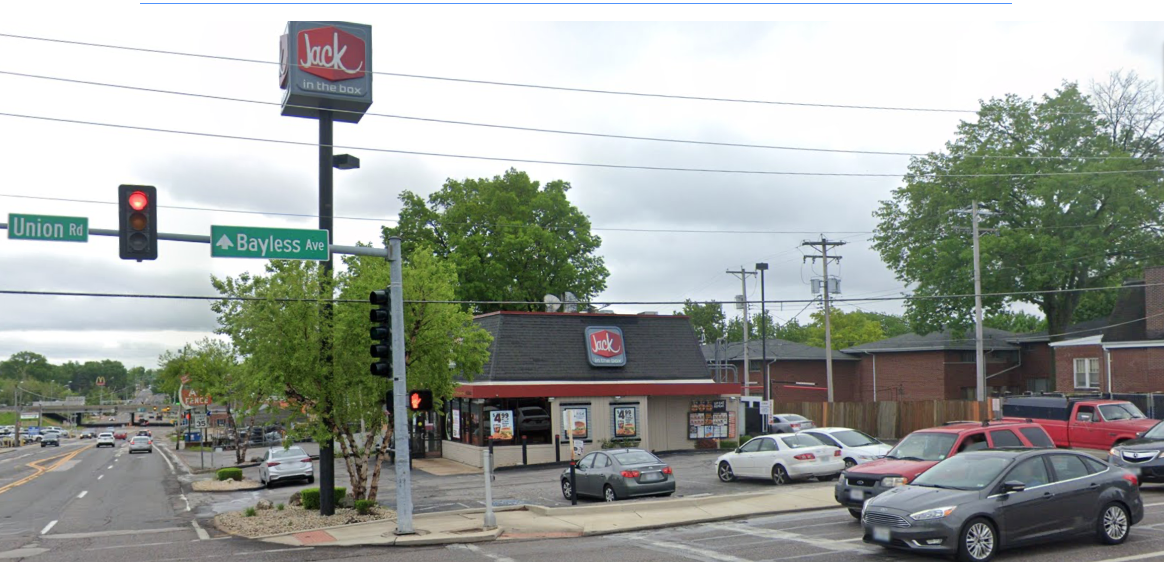 The corner of Union Road and Bayless Avenue at the Jack in the Box restaurant where Michele Frank was last seen alive