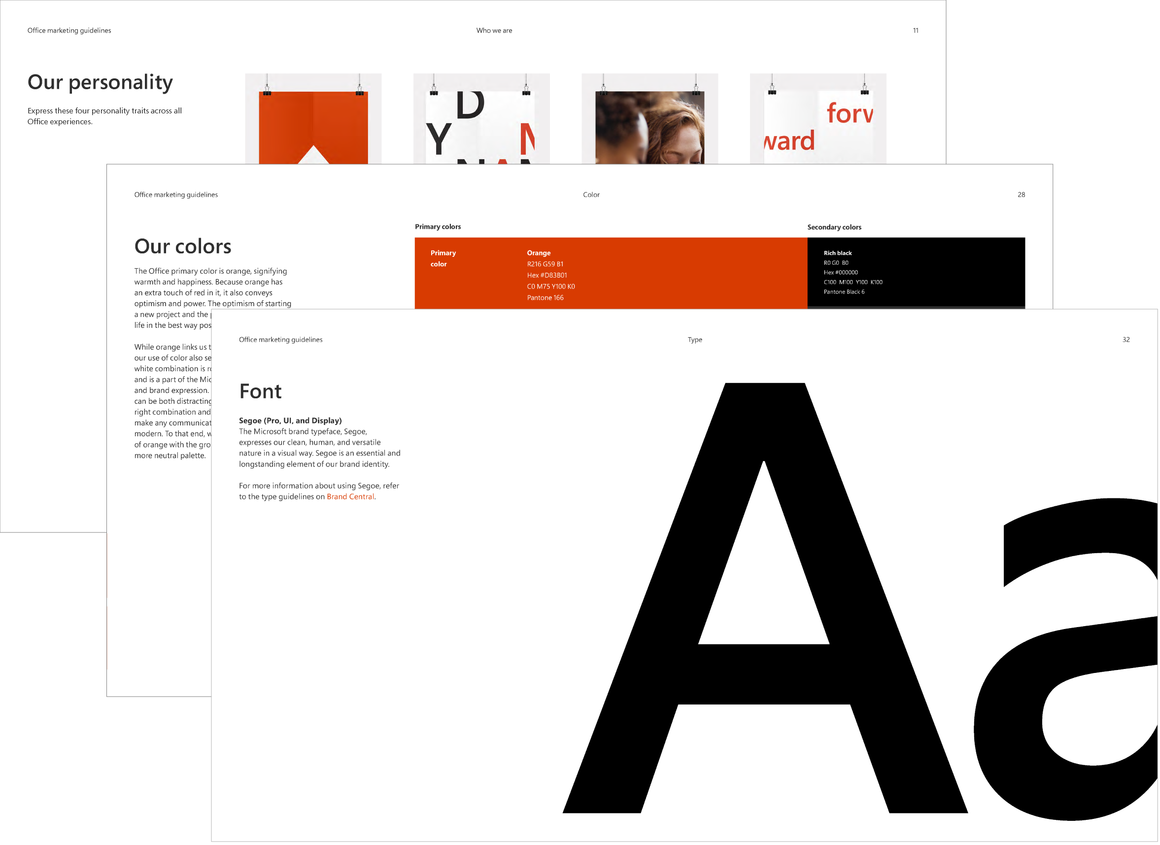 Office brand guideline examples including personality, colors, and font.