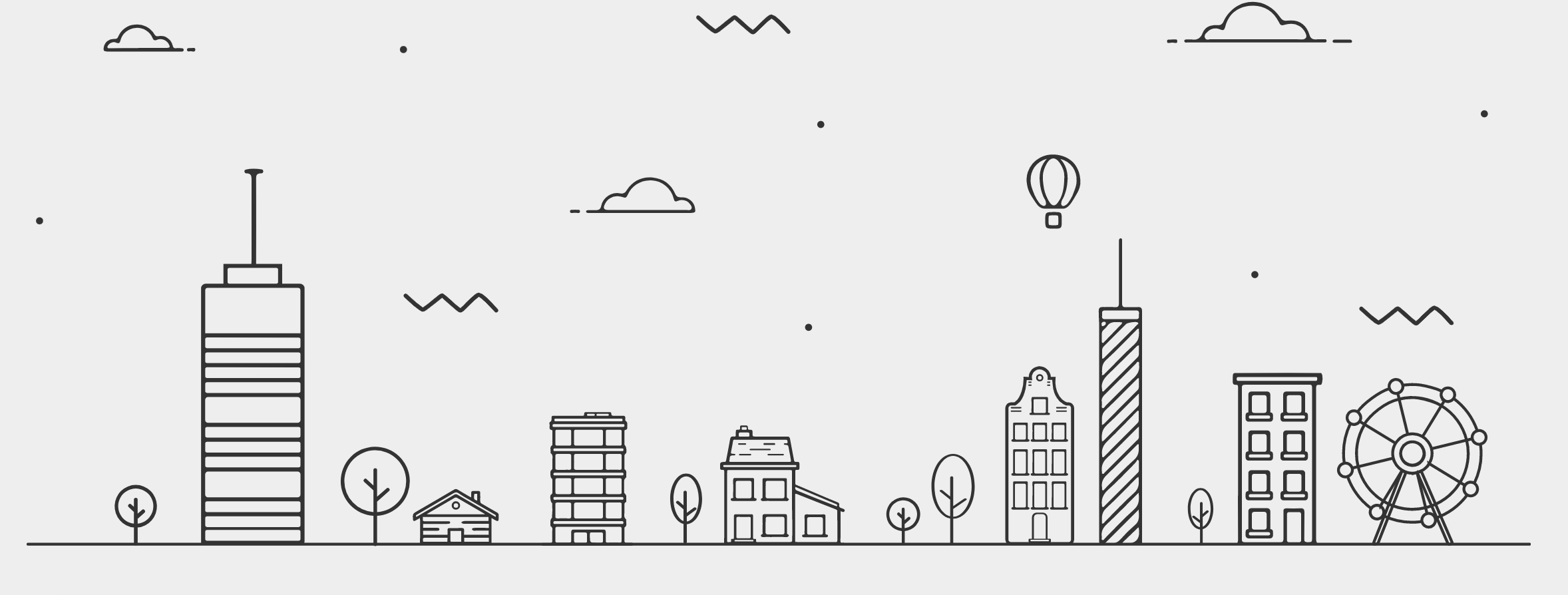 line drawing of different city buildings and some trees against a backdrop of sky with clouds and a hot air balloon