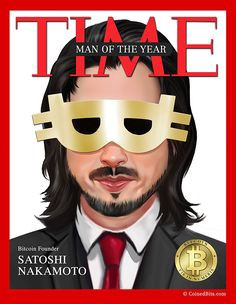 Time magazine (irony) picture of Bitcoin's Satoshi Nakamoto with a psuedonymous mask