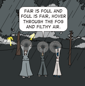 macbeth themes fair is foul and Important themes in macbeth involves the witches' statement in act 1, scene1 that fair is foul and foul is fair (act 1, scene 1, line 10) this phrase aptly describes the macabre status quo within the character macbeth and without when macbeth and banquo first see the weird sisters.