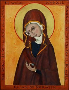 Icon of St. Julian of Norwich in a brown religious habit holding before her a tiny hazelnut in her left hand.