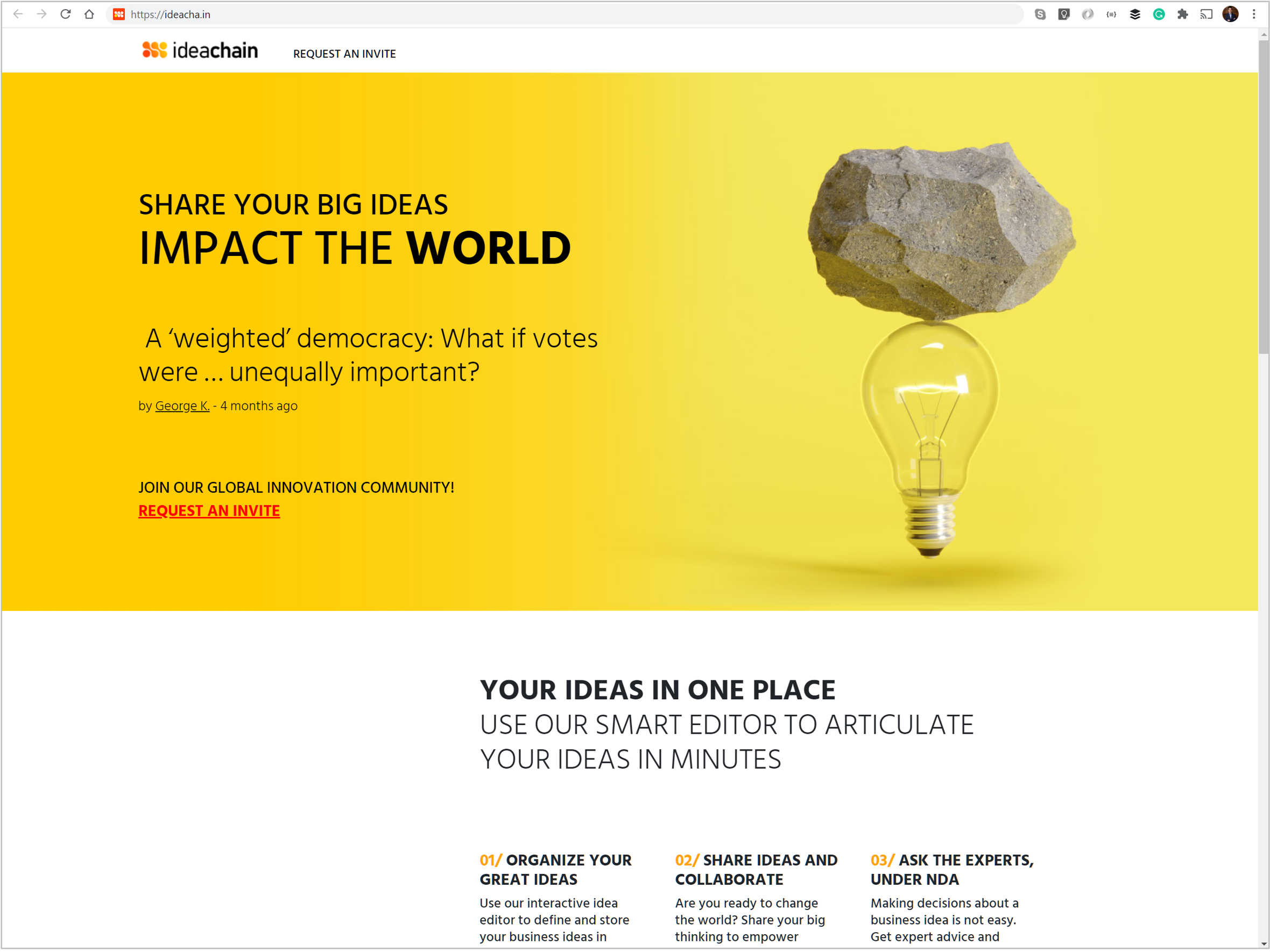 The homepage of the ideachain website — an open innovation concept