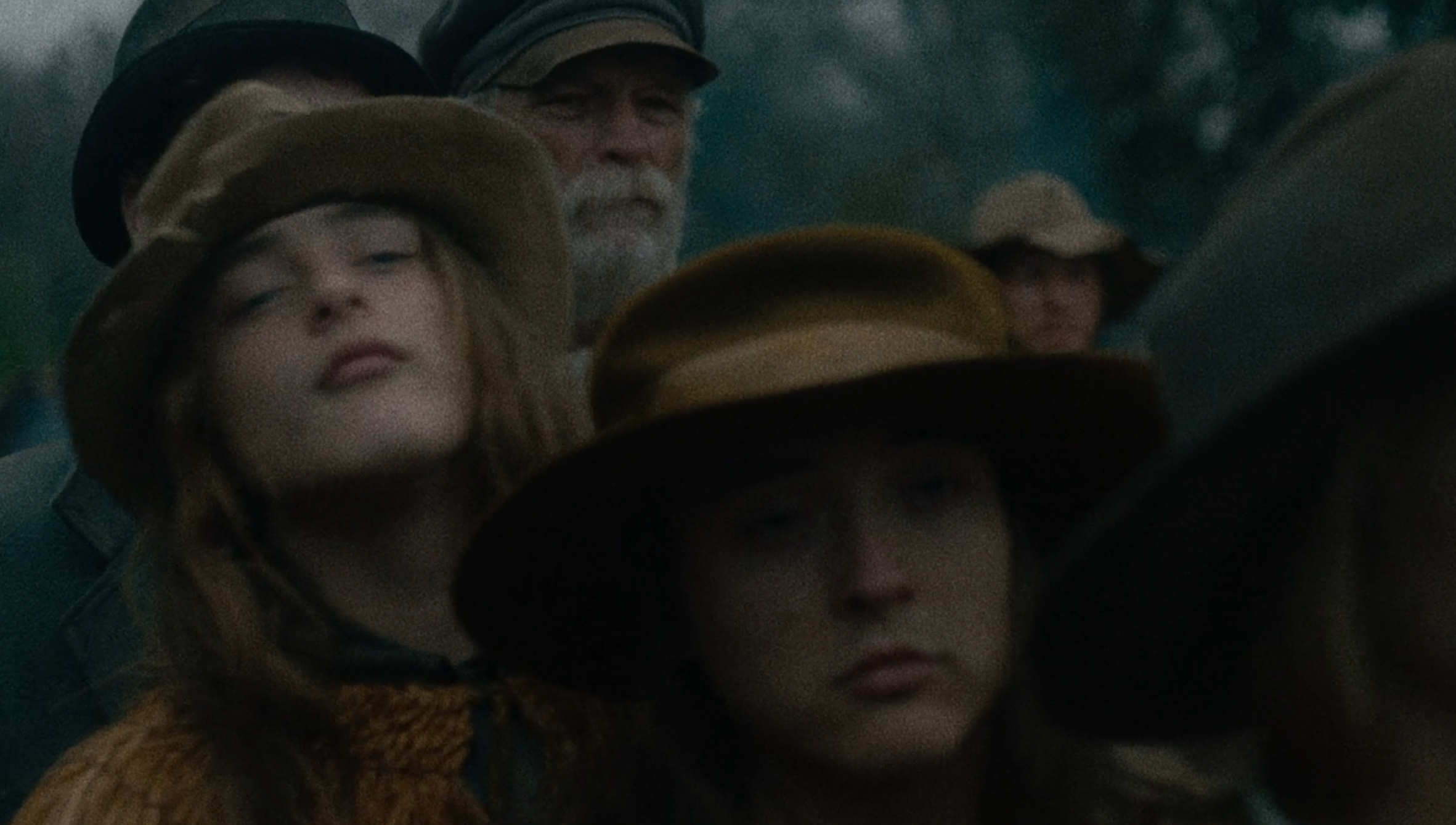 """Villagers lined up in Kelly Reichardt's film """"First Cow"""""""