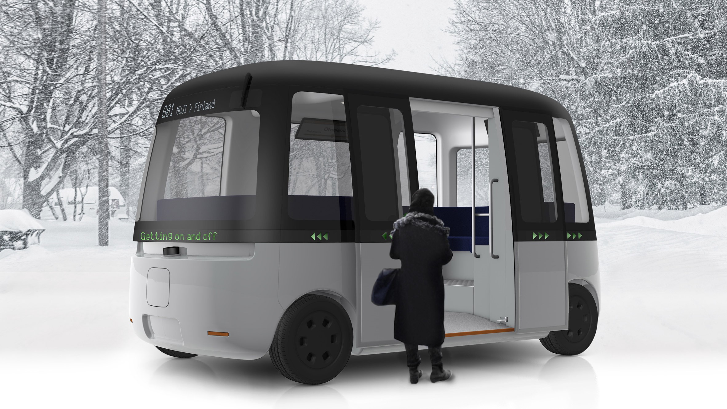 Photo: autonomous driving mini bus designed by Sensible4 and Muji.