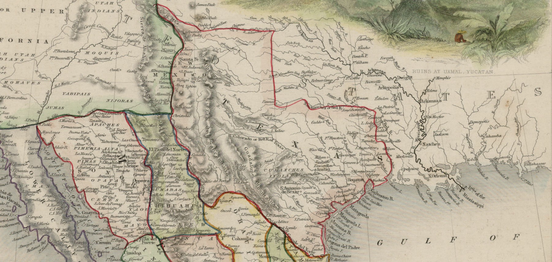 Map Of Texas Mexico.Mexico California And Texas 1851 Save Texas History Medium