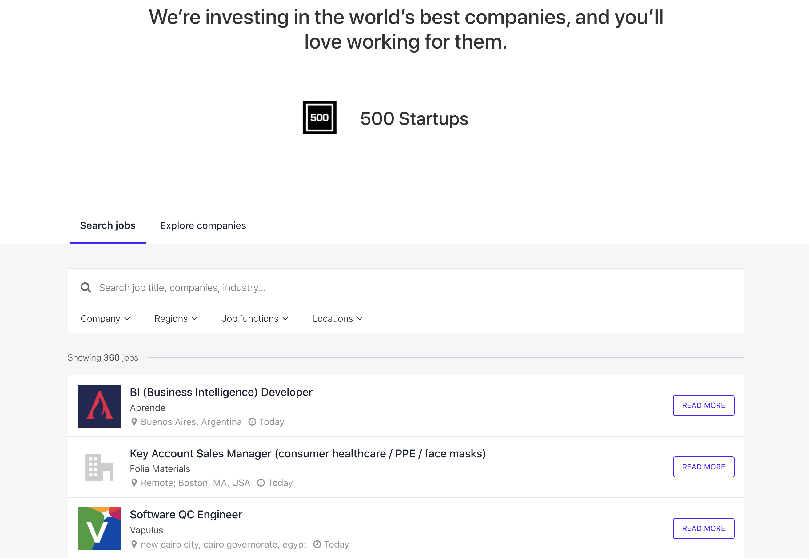 500 Startups homepage