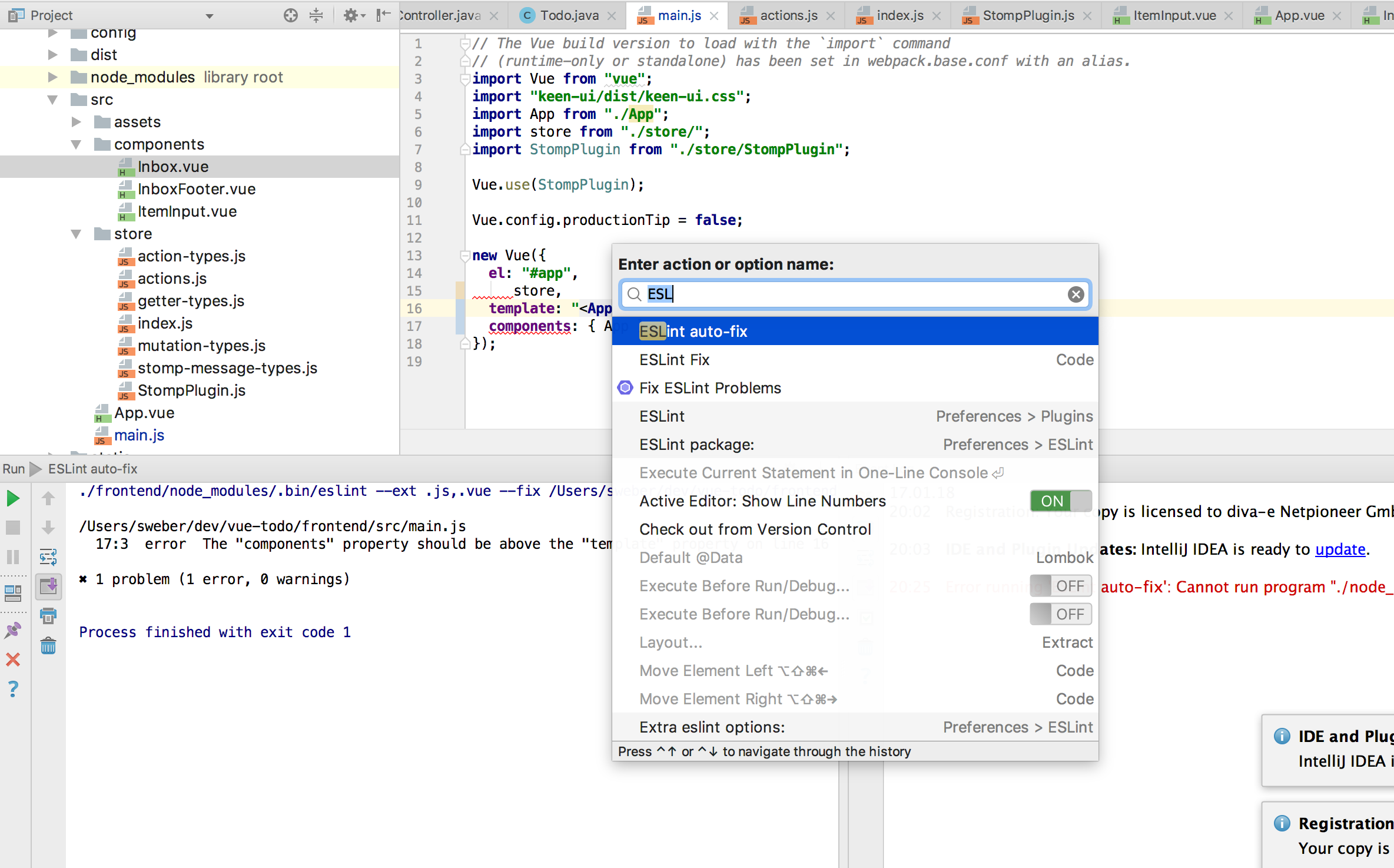 Running the custom IntelliJ external tool
