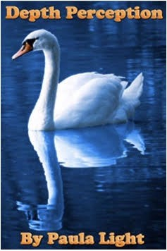 White swan swimming in blue water