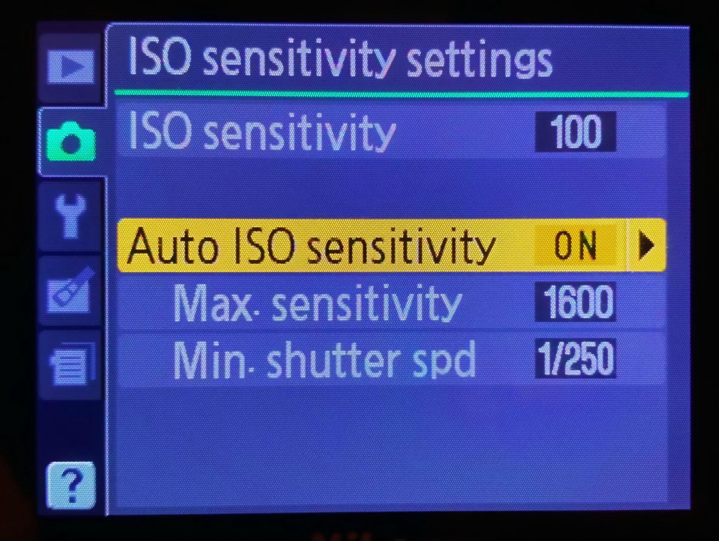 The Auto ISO settings on the back of a camera.