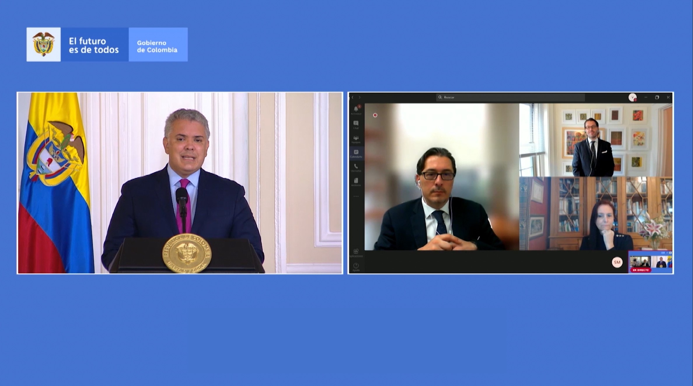 """Participants speak at the virtual """"Launch of Ethics of Artificial Intelligence in Colombia"""""""