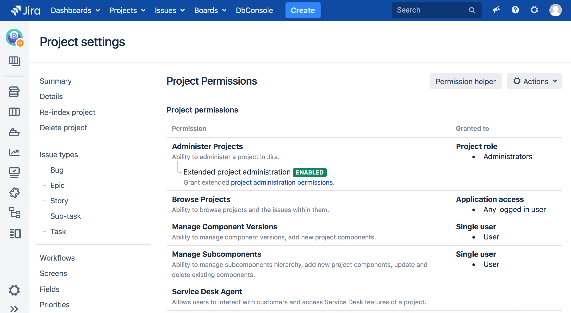 Custom project permissions for subcomponents and component