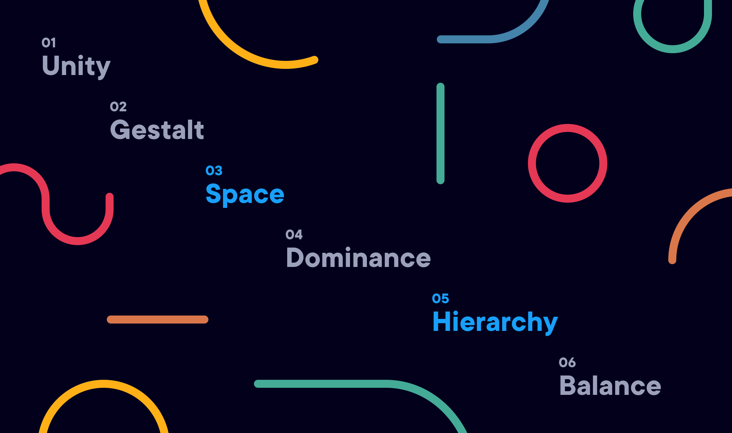 The six principles of visual design (space and hierarchy highlighted) against a dark background surrounded by various shapes.