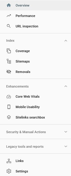 Options Available in Google Search Console