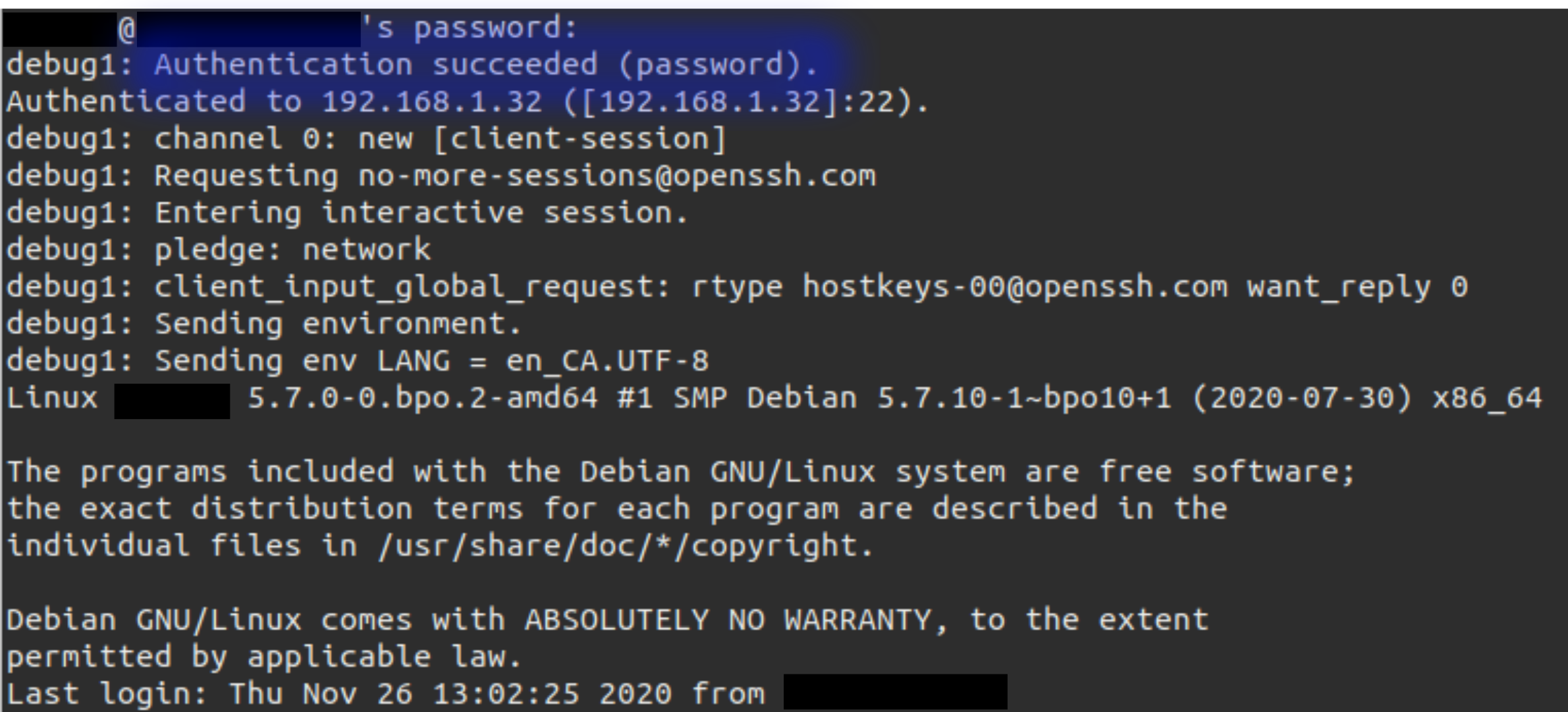 Authentication succeeded while logging in with SSH.