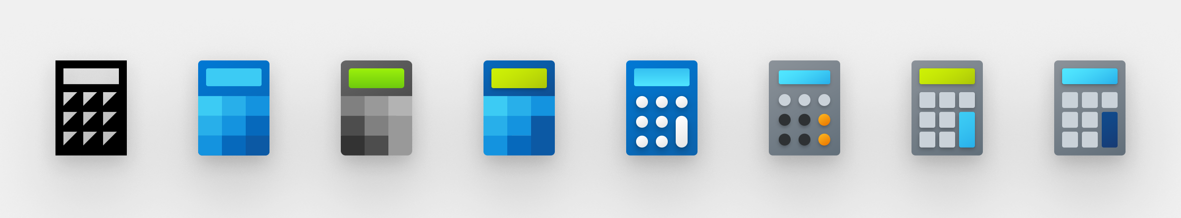 Eight iterations of the calculator icon in a row.