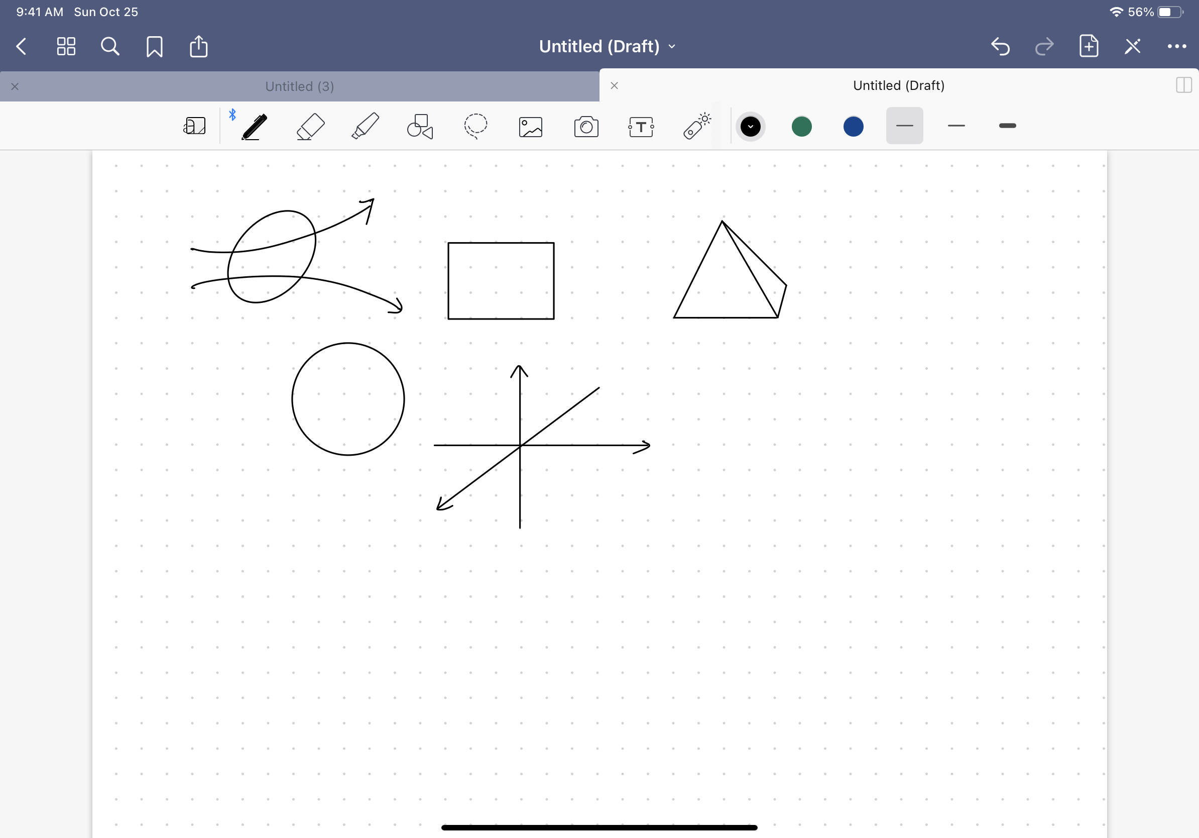 Screenshot of different shapes that can be easily drawn on Goodnotes