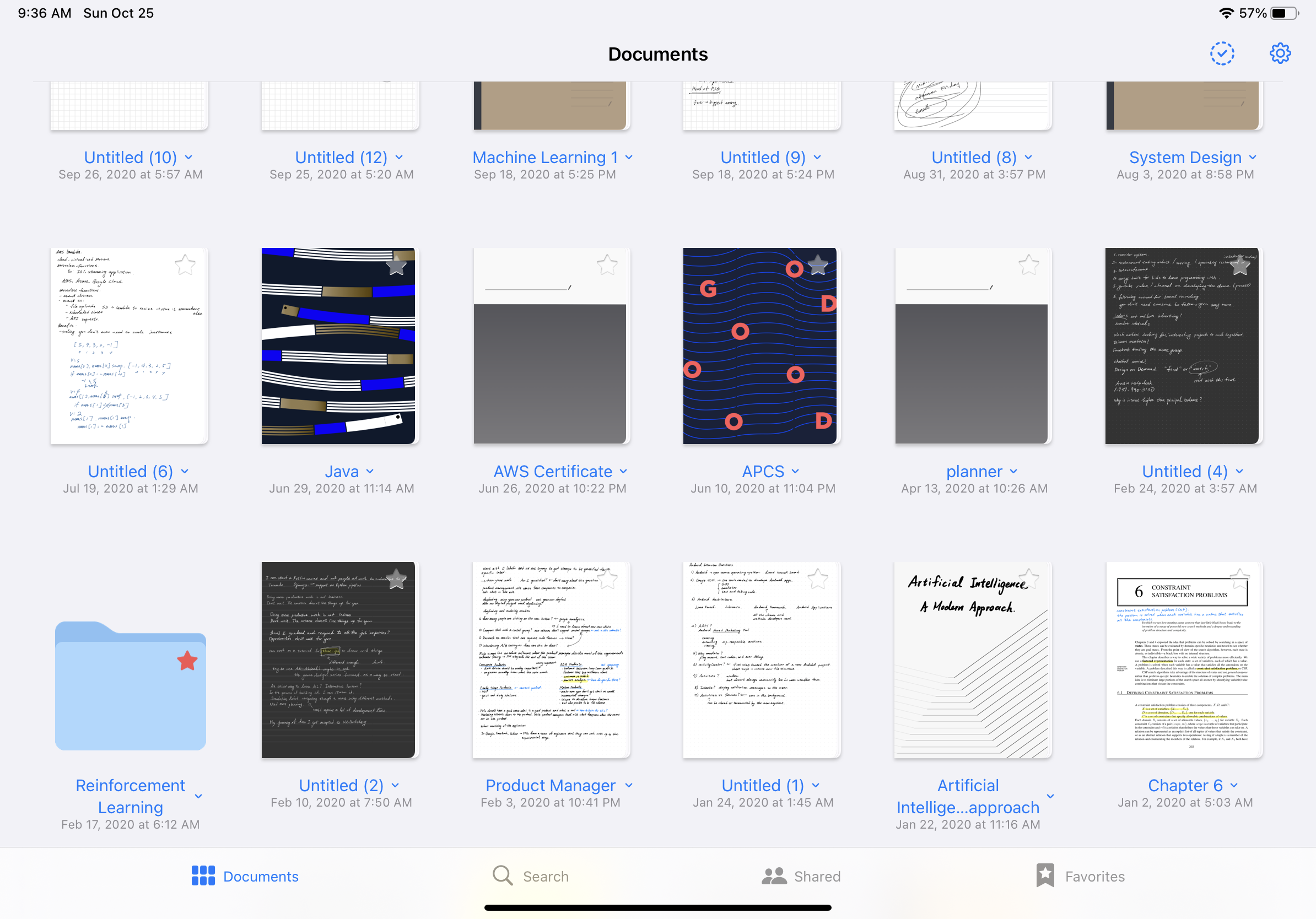 Screenshot of the folders, notebooks, and quick notes on Goodnote