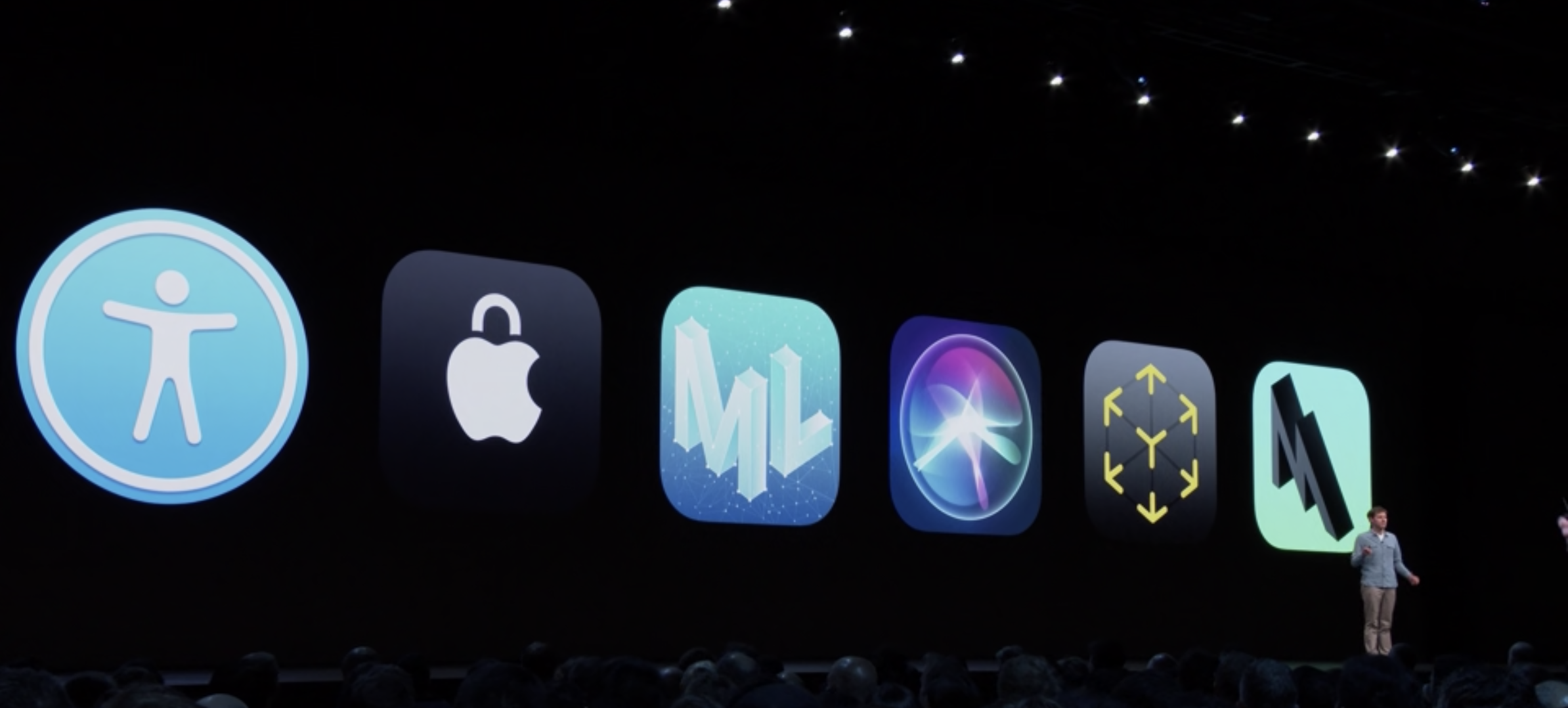 Photo from the Platforms State of the Union session in the WWDC 2019.
