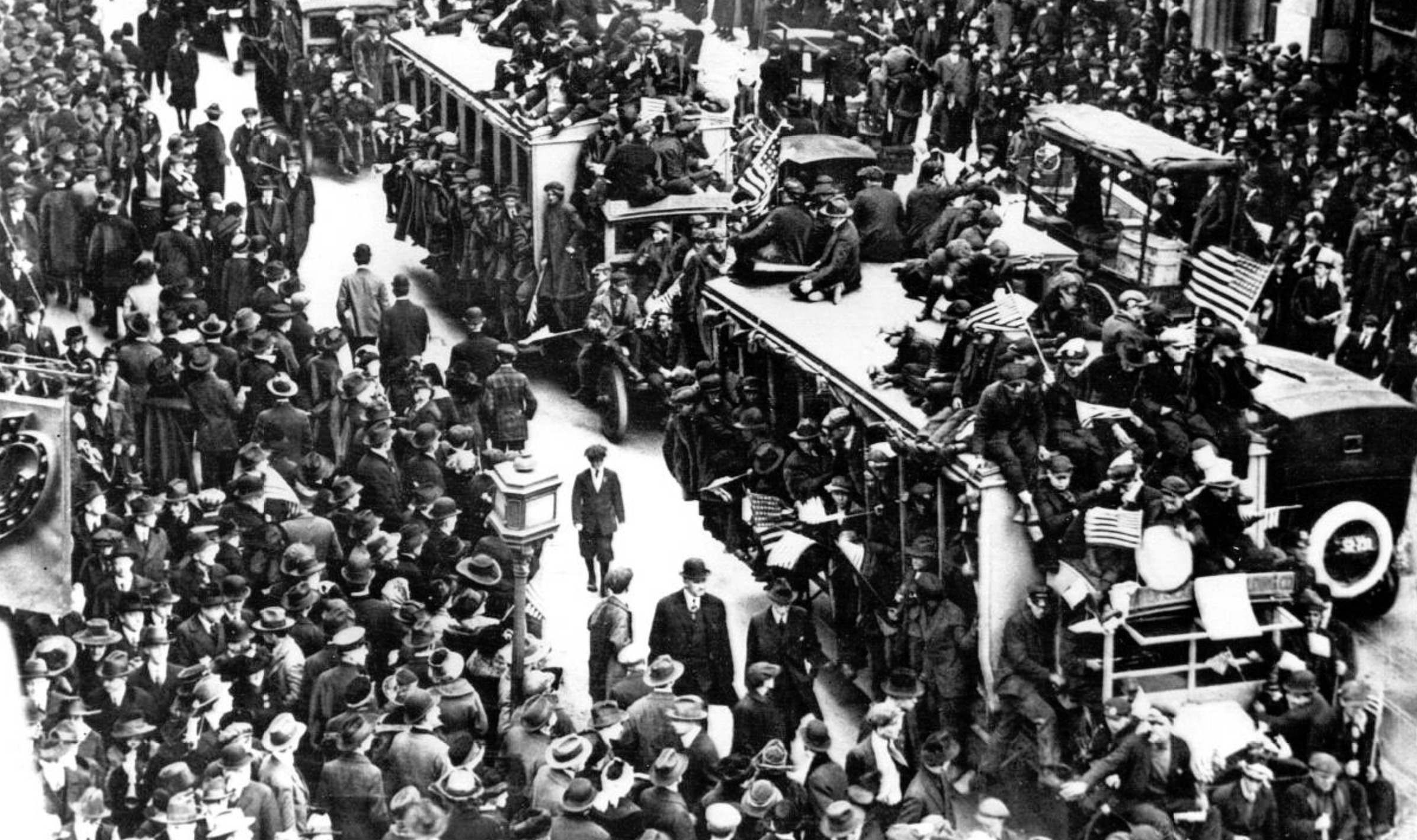 New Yorkers take to the streets of Manhattan to celebrate Armistice Day and an end to the Great War. Scenes such as this one