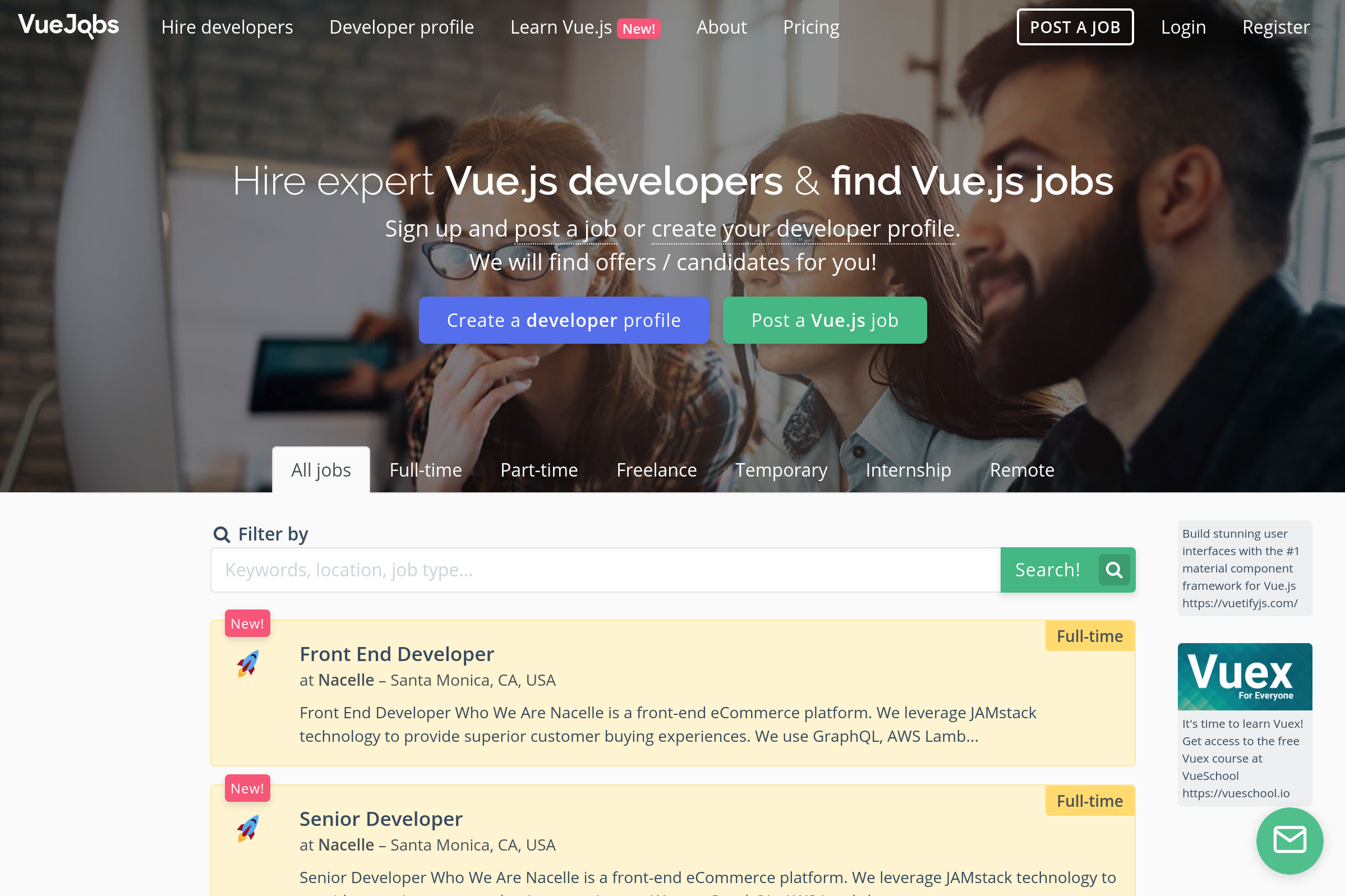 Find remote front-end freelance jobs at VueJobs.com