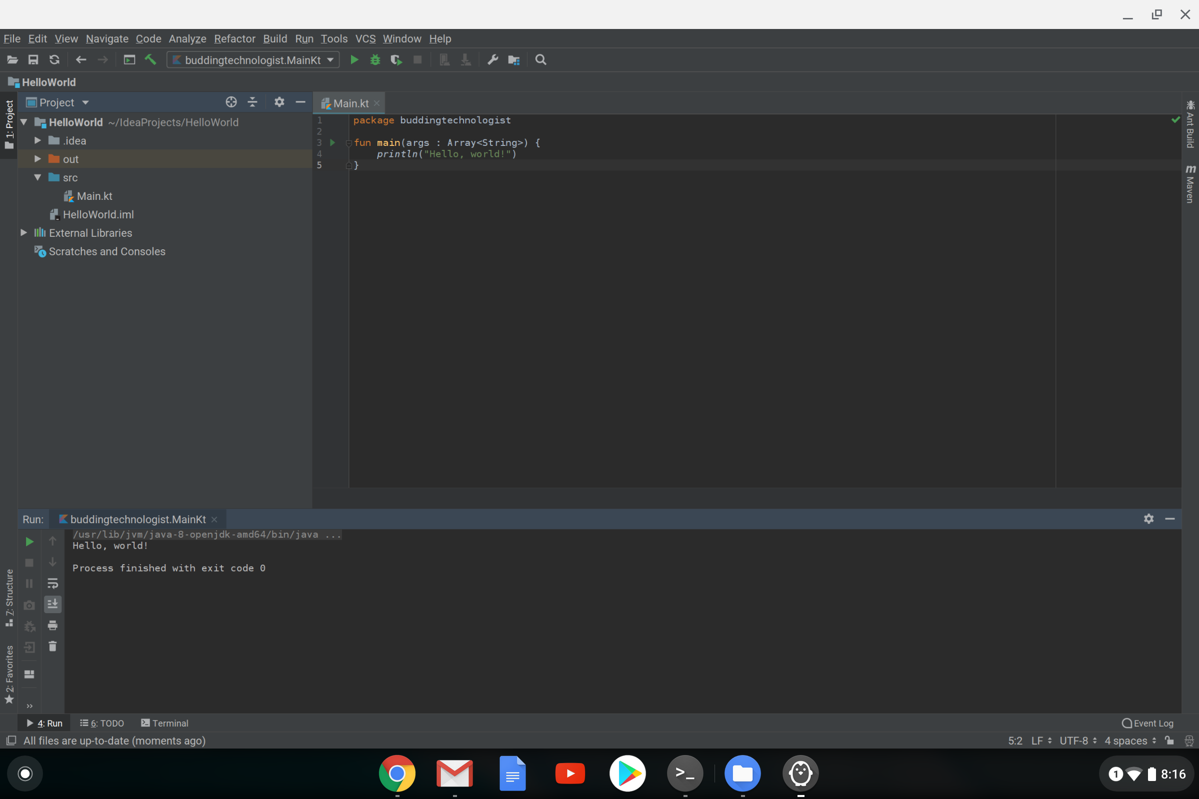Using IntelliJ and other Linux apps on your Chromebook