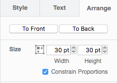 menu showing the Arrange tab selected and the button To Front