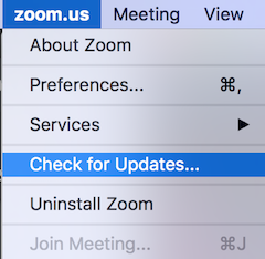 """zoom.us menu, with several menu items and then """"Check for Updates…"""" highlighted"""