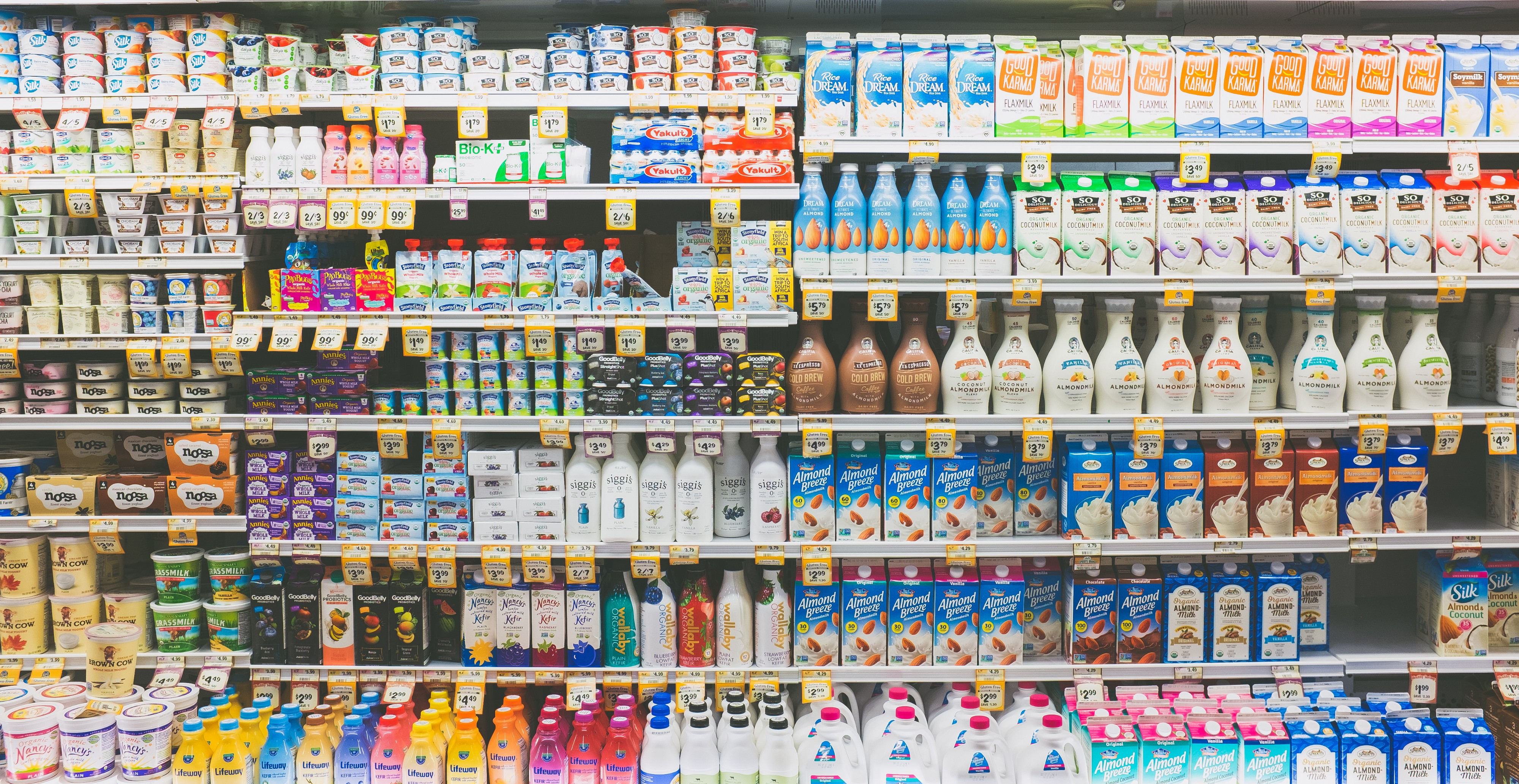 A wide range of plant-based milk products.