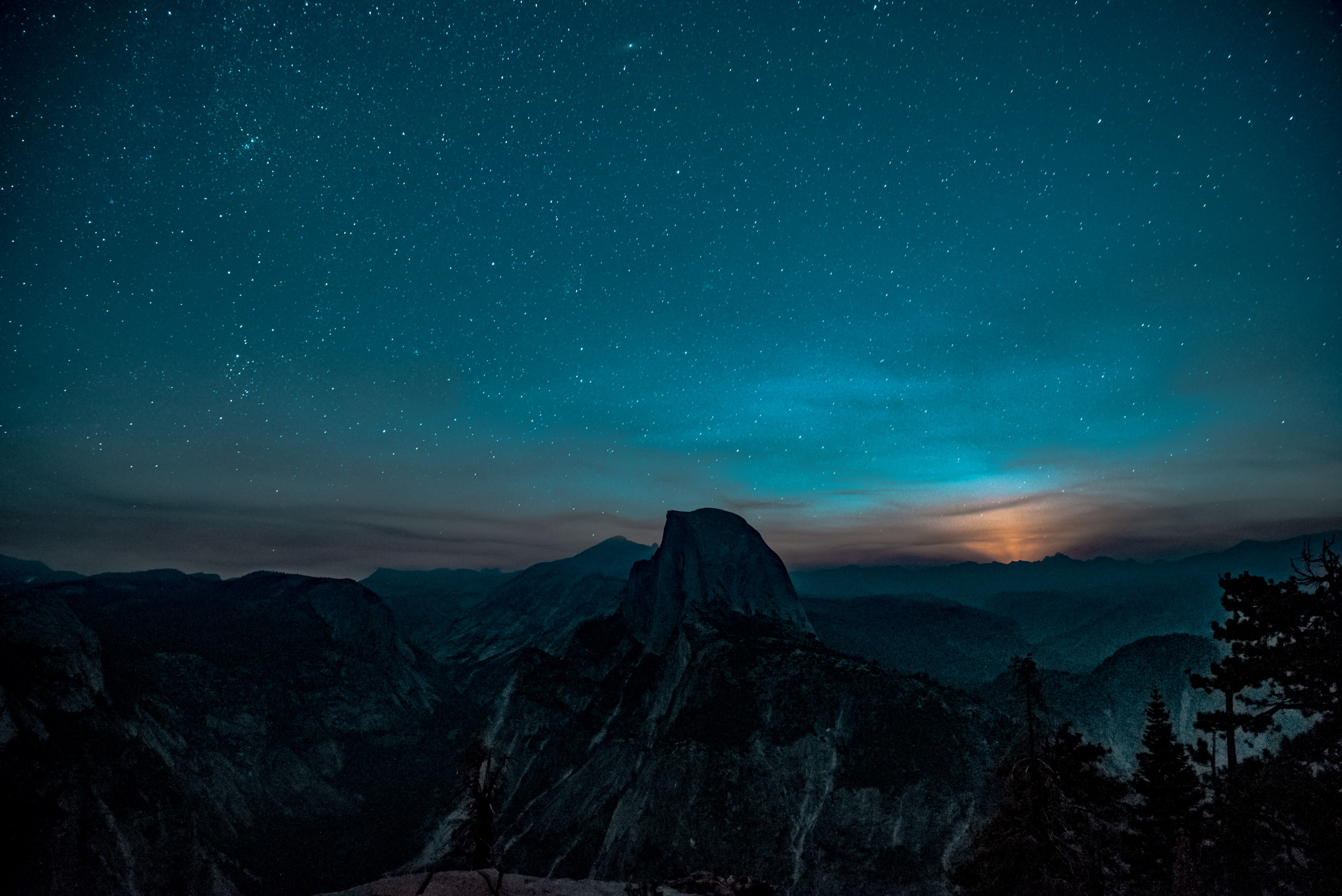 Starry sky over mountains.