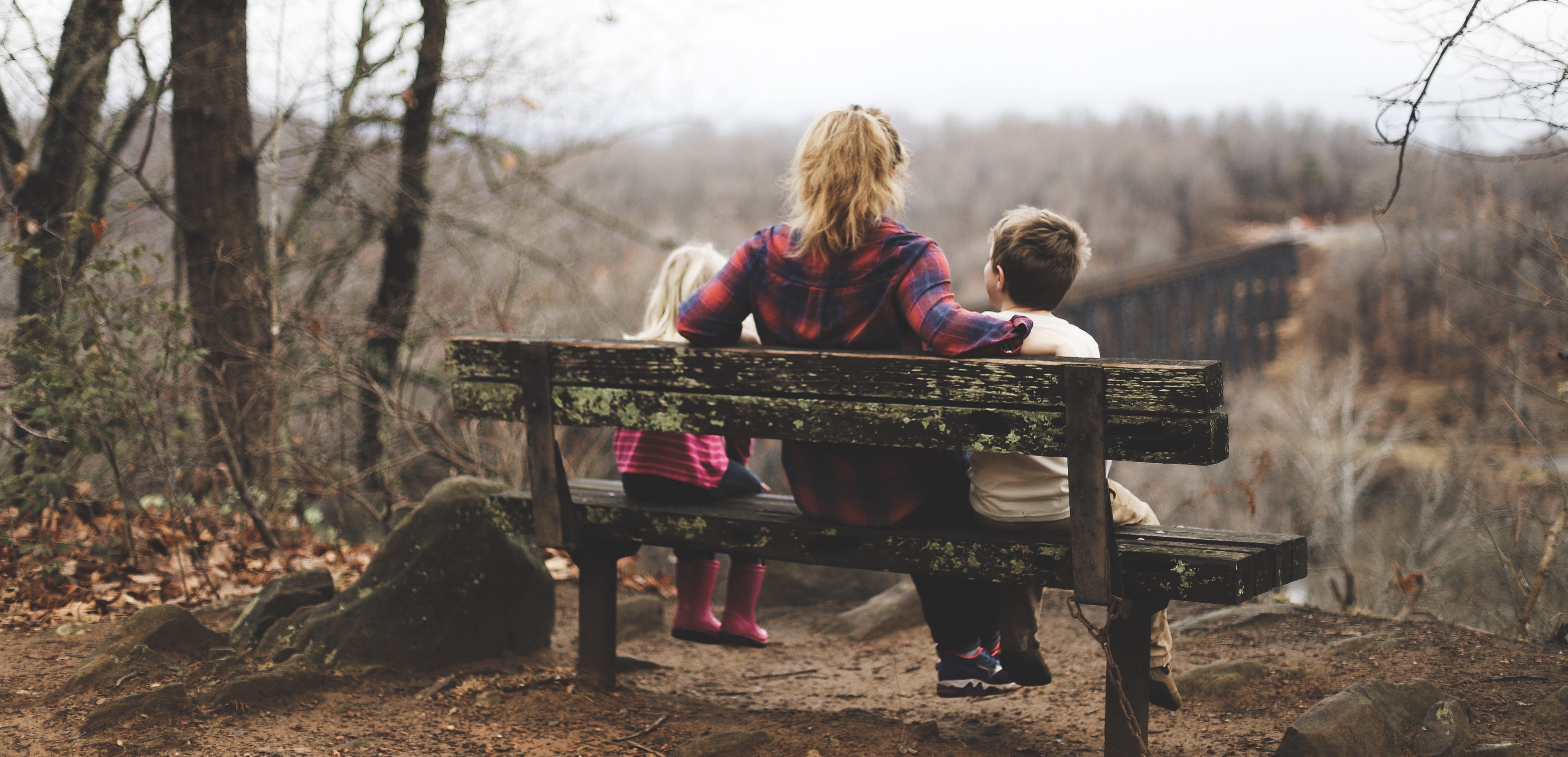 Mother and children sitting on a bench