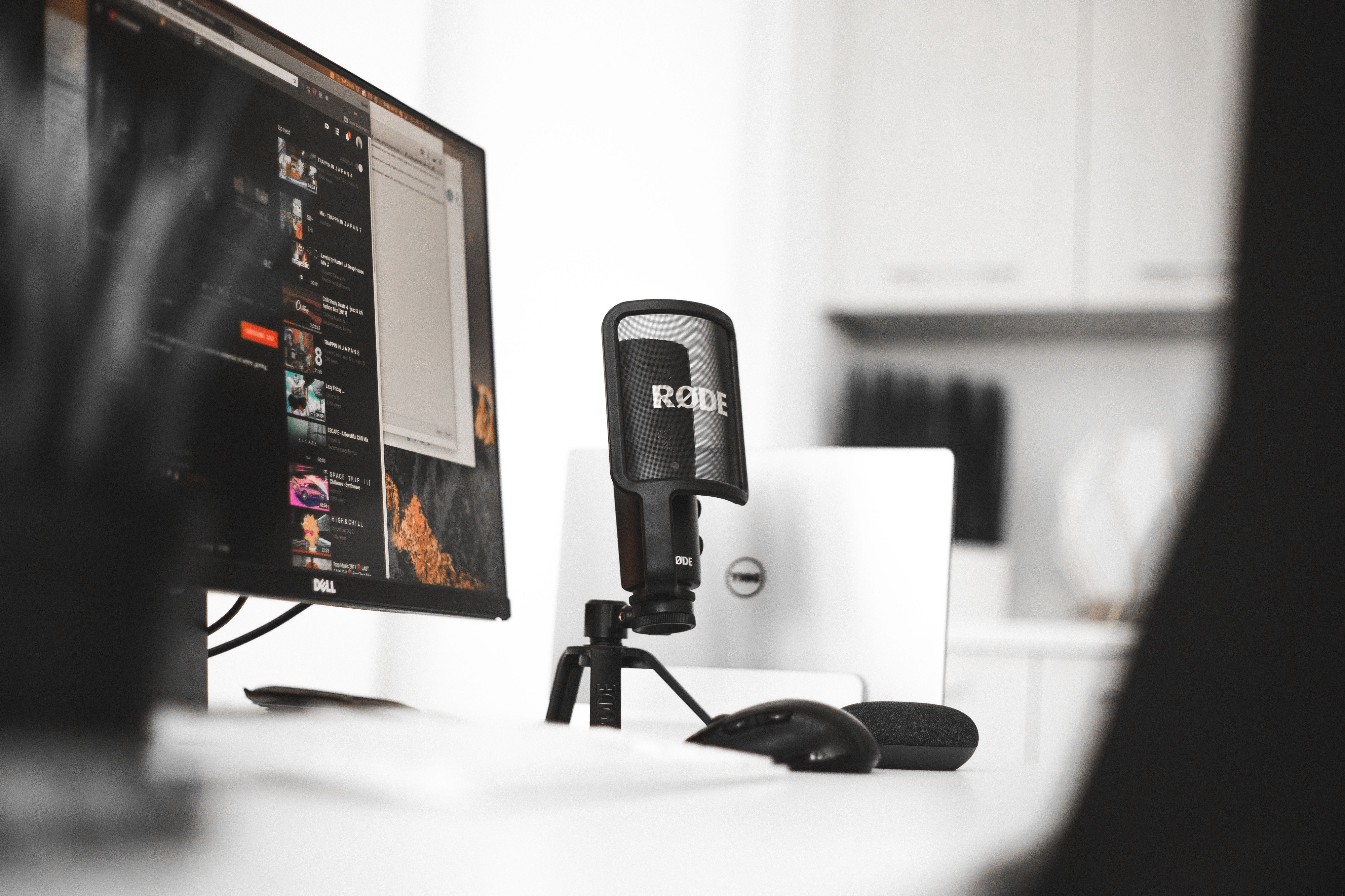 Podcast equipment setup in a recording studio office.