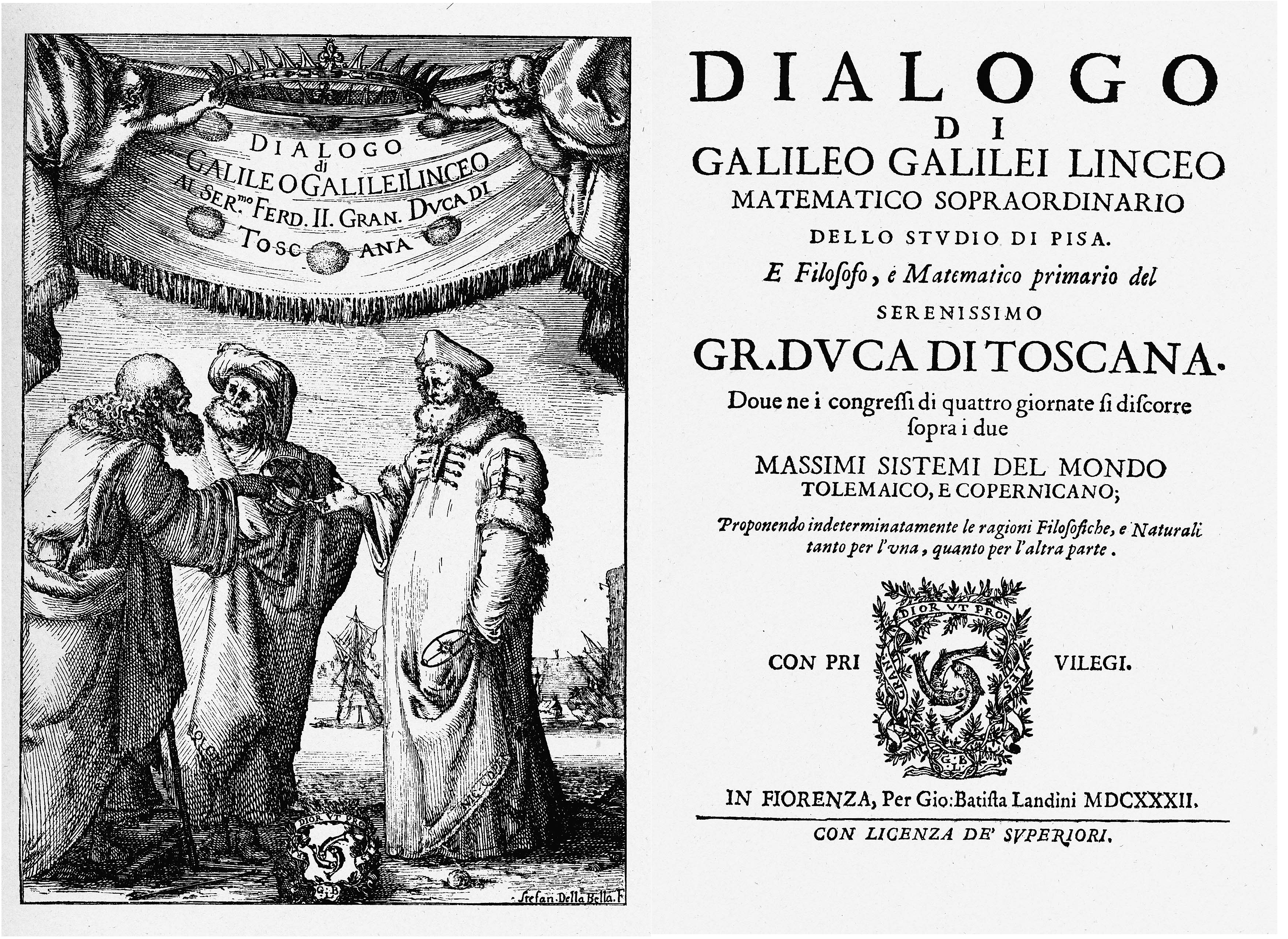 """Frontispiece of Galileo's """"Dialogue Concerning the Two Chief World Systems,"""" the rhetorical model for this post."""