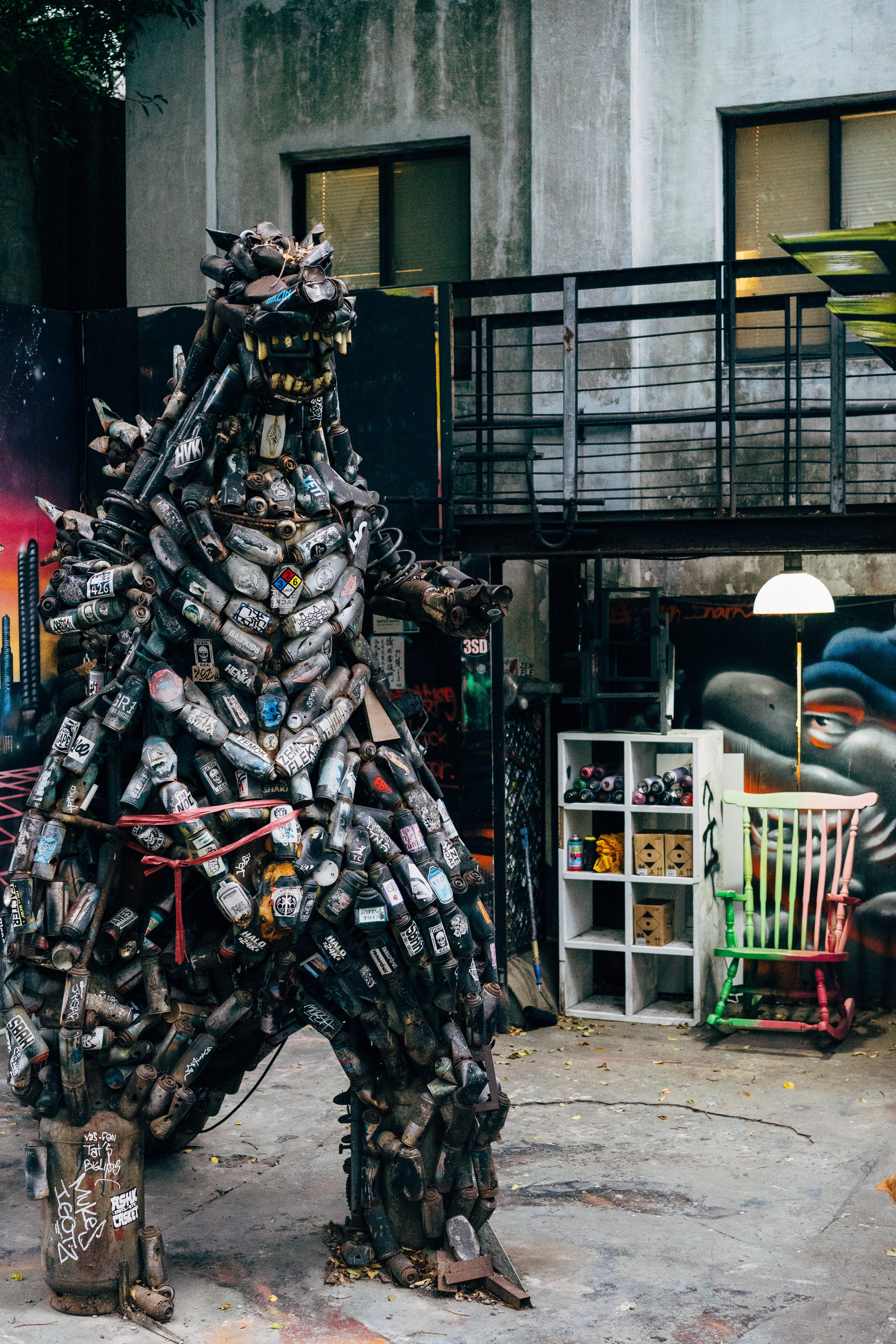 A Godzilla sculpture made of… I'm going to say, beer cans.