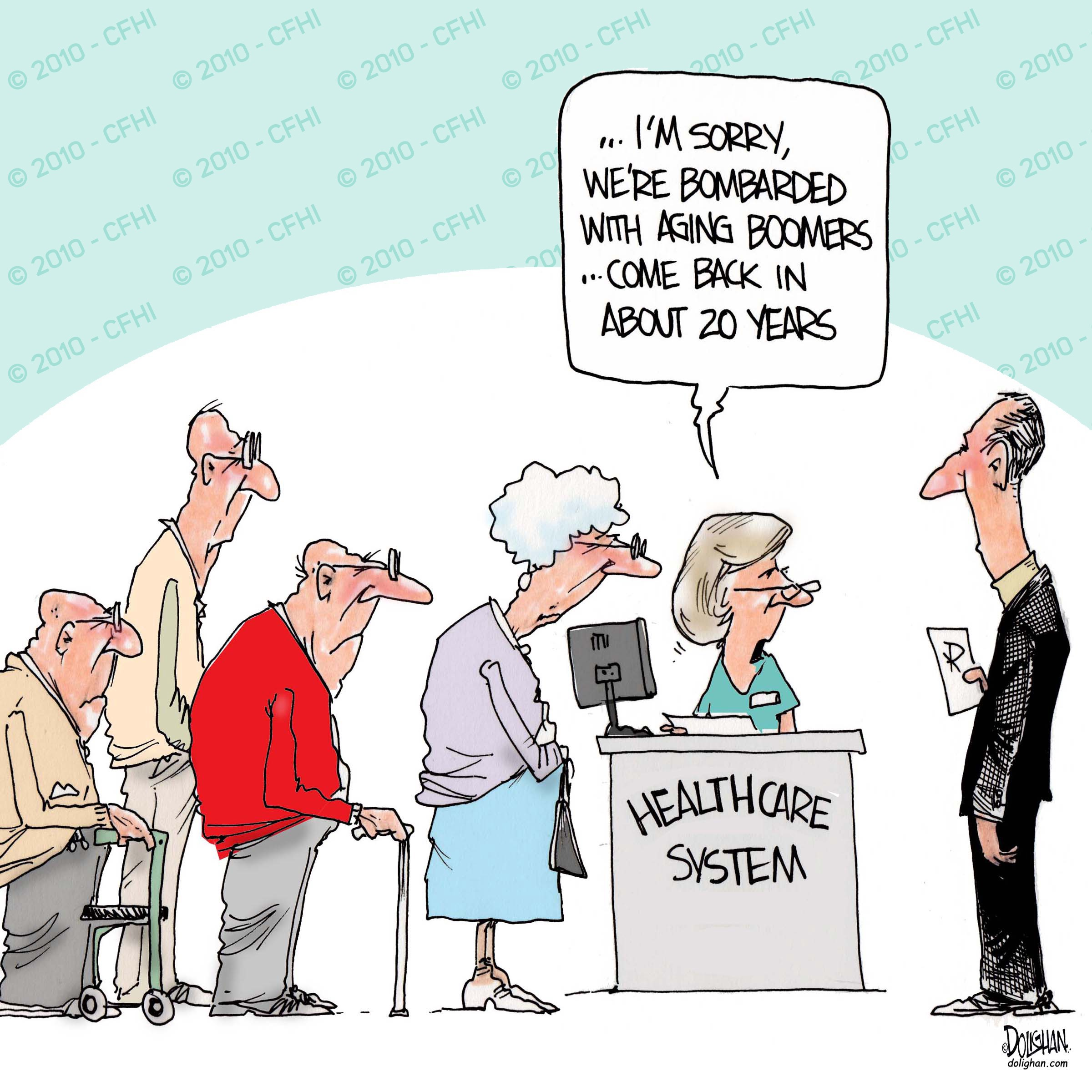 Dolighan comic piece commenting on the healthcare system and the aging population.