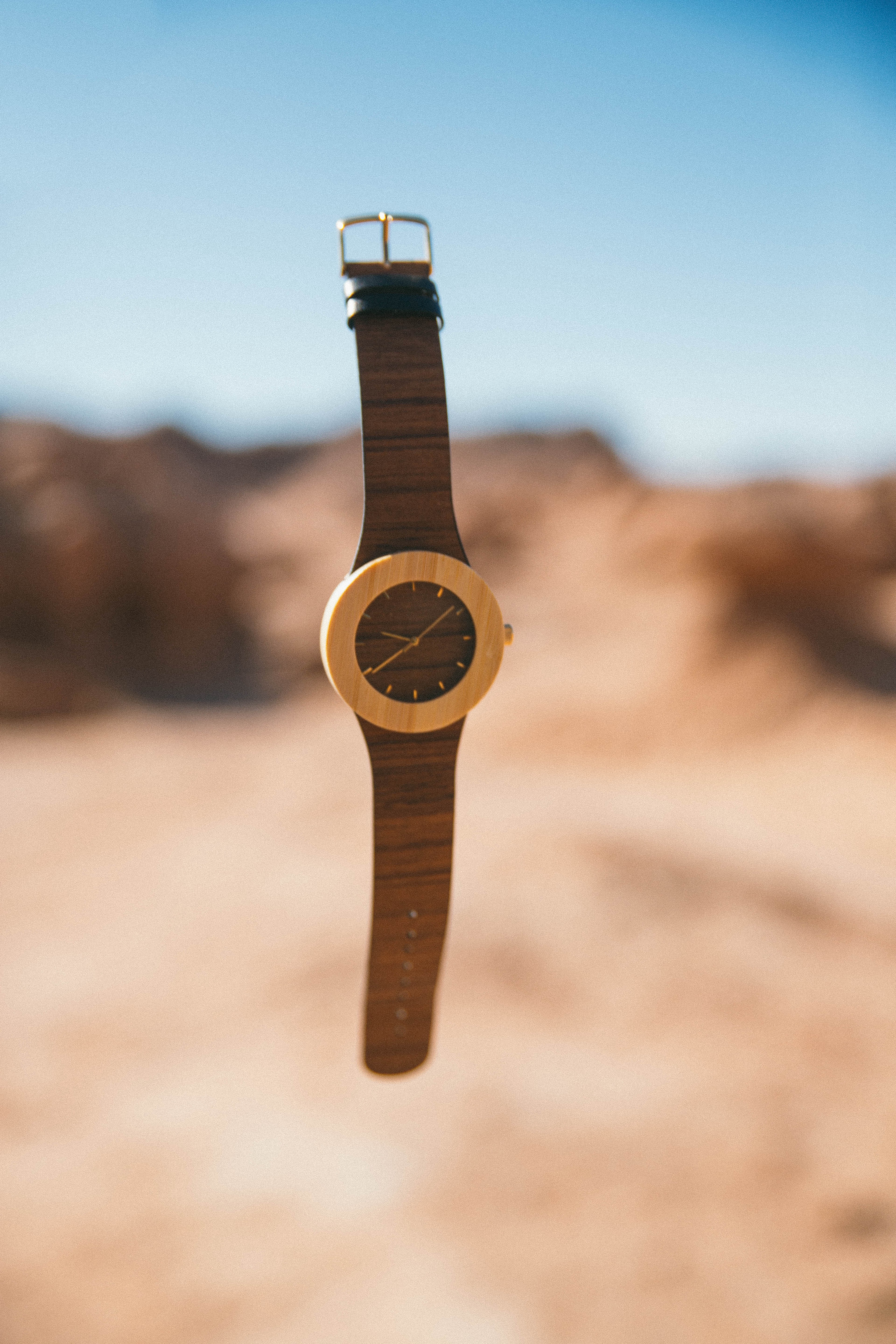A floating watch looked like carved of wood  as the symbolic metaphor to this article's title/subtitle: The Ultimate Trip Back in Time, An inventive virtual journey of an architecture addict's arch-zeal