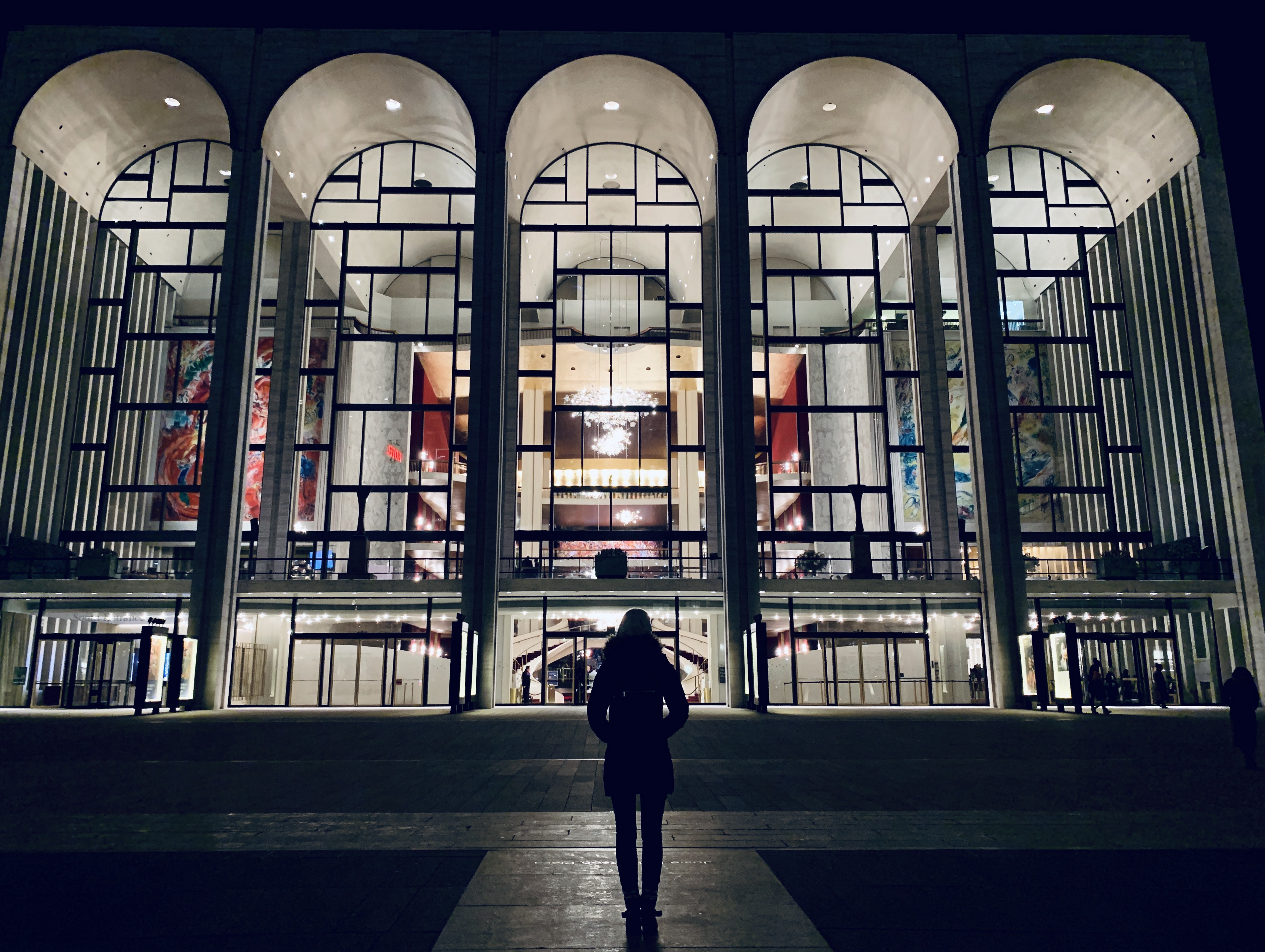 Metropolitan Opera House at night, Lincoln Center, New York City